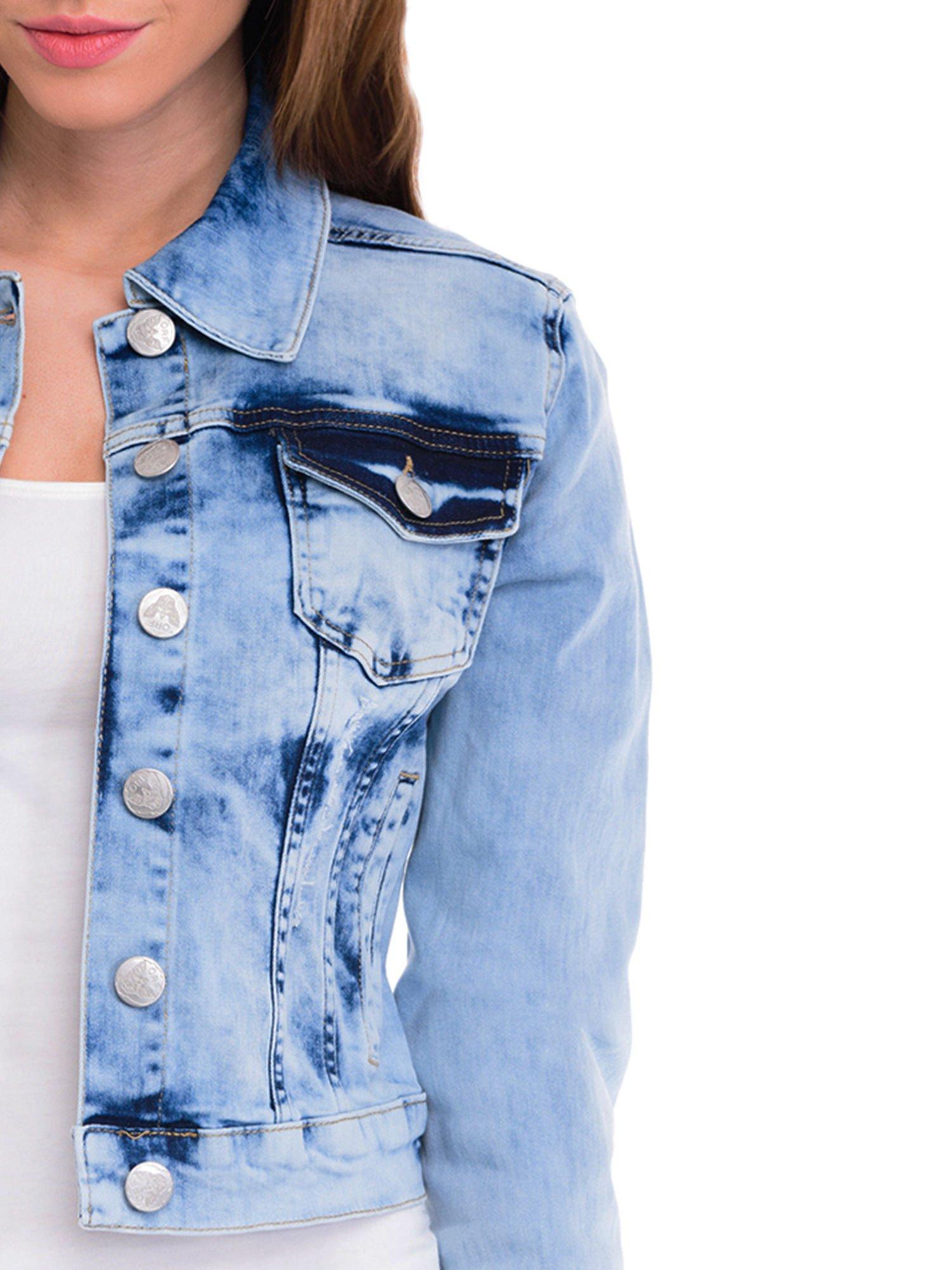 Niebieska kurtka jeansowa damska z cieniowaniem i przetarciami                                  zdj.                                  5