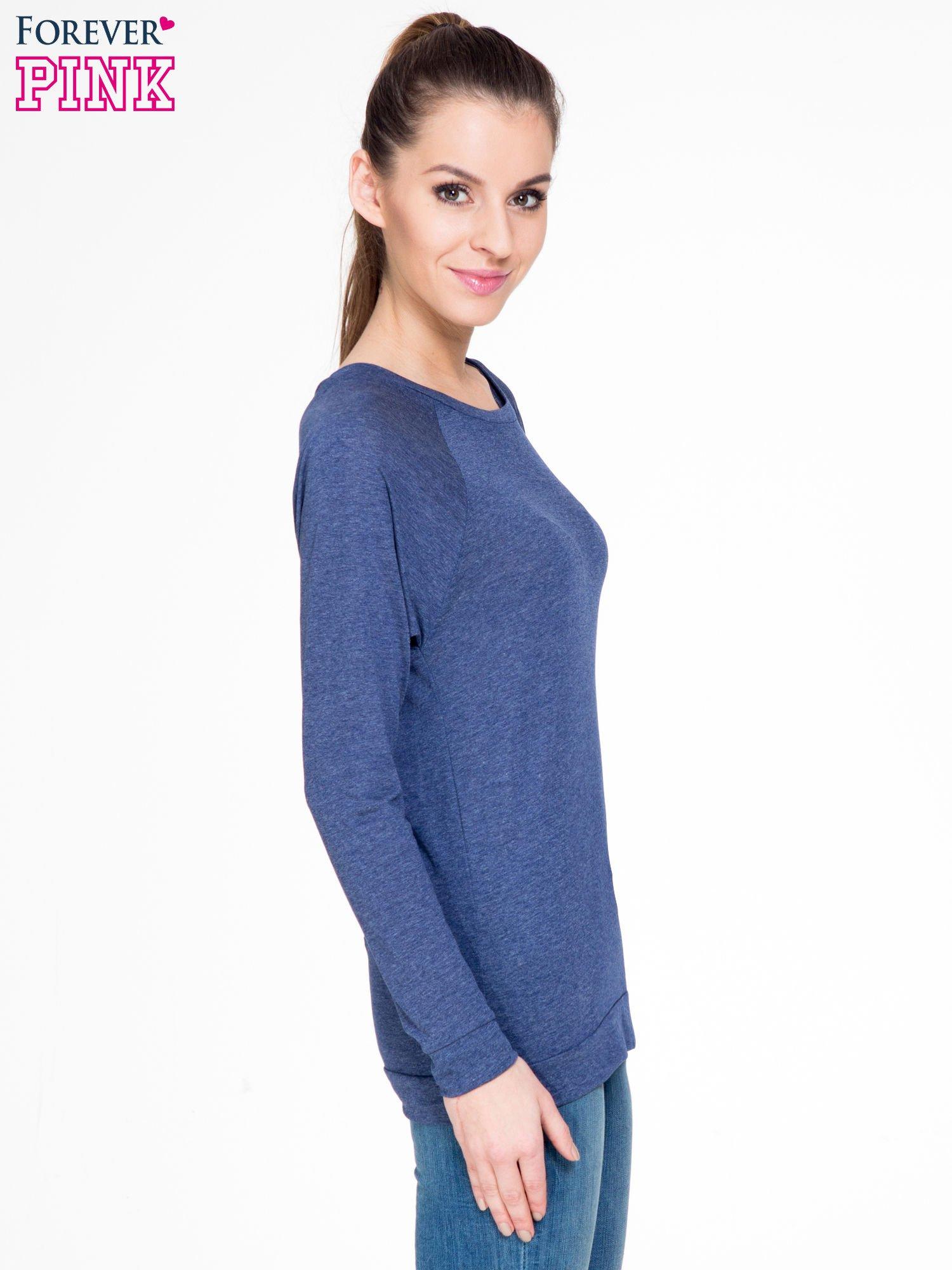 Niebieska melanżowa bawełniana bluzka z rękawami typu reglan                                  zdj.                                  3