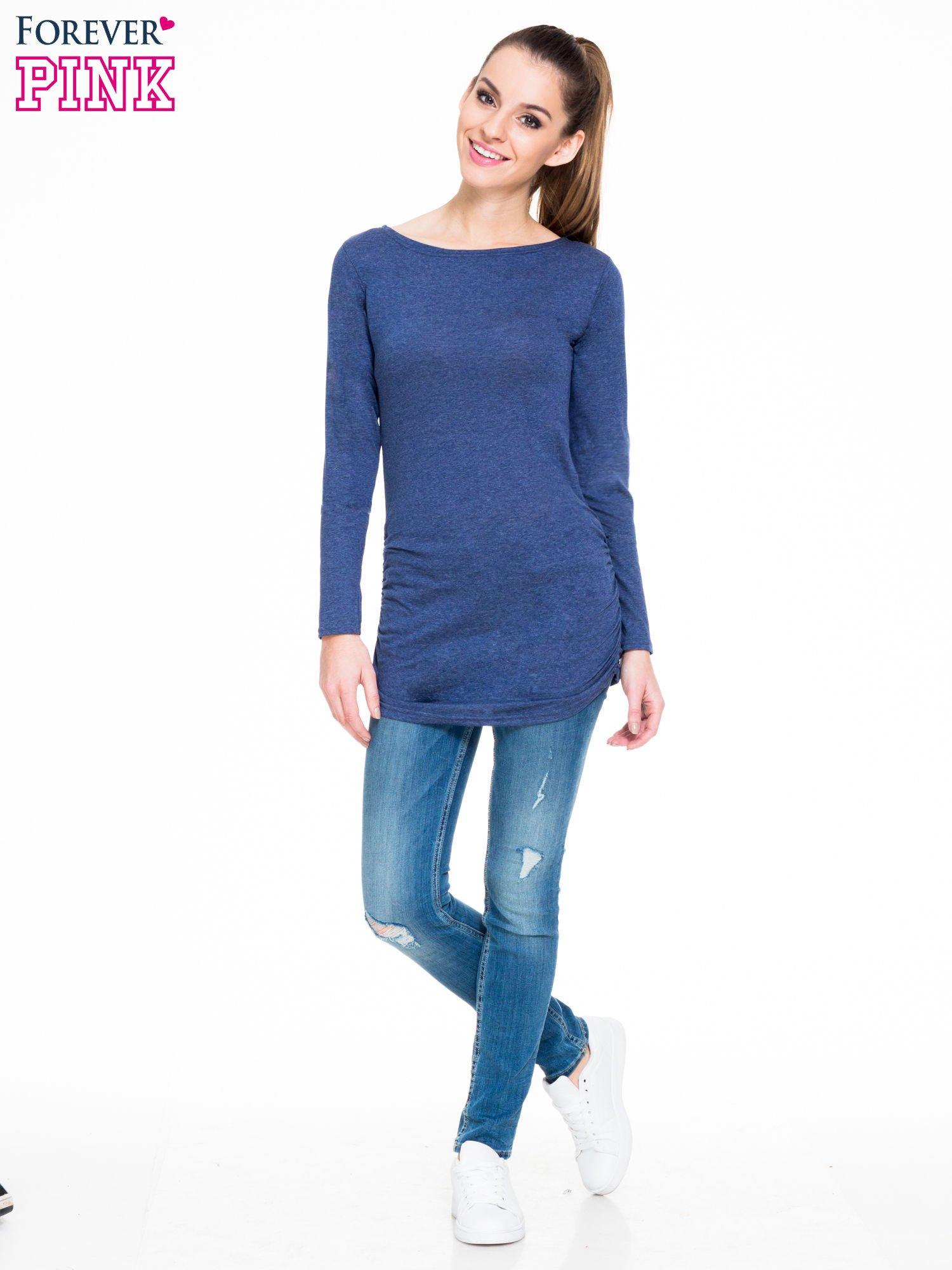Niebieska melanżowa bluzka tunika z marszczonym dołem                                  zdj.                                  2