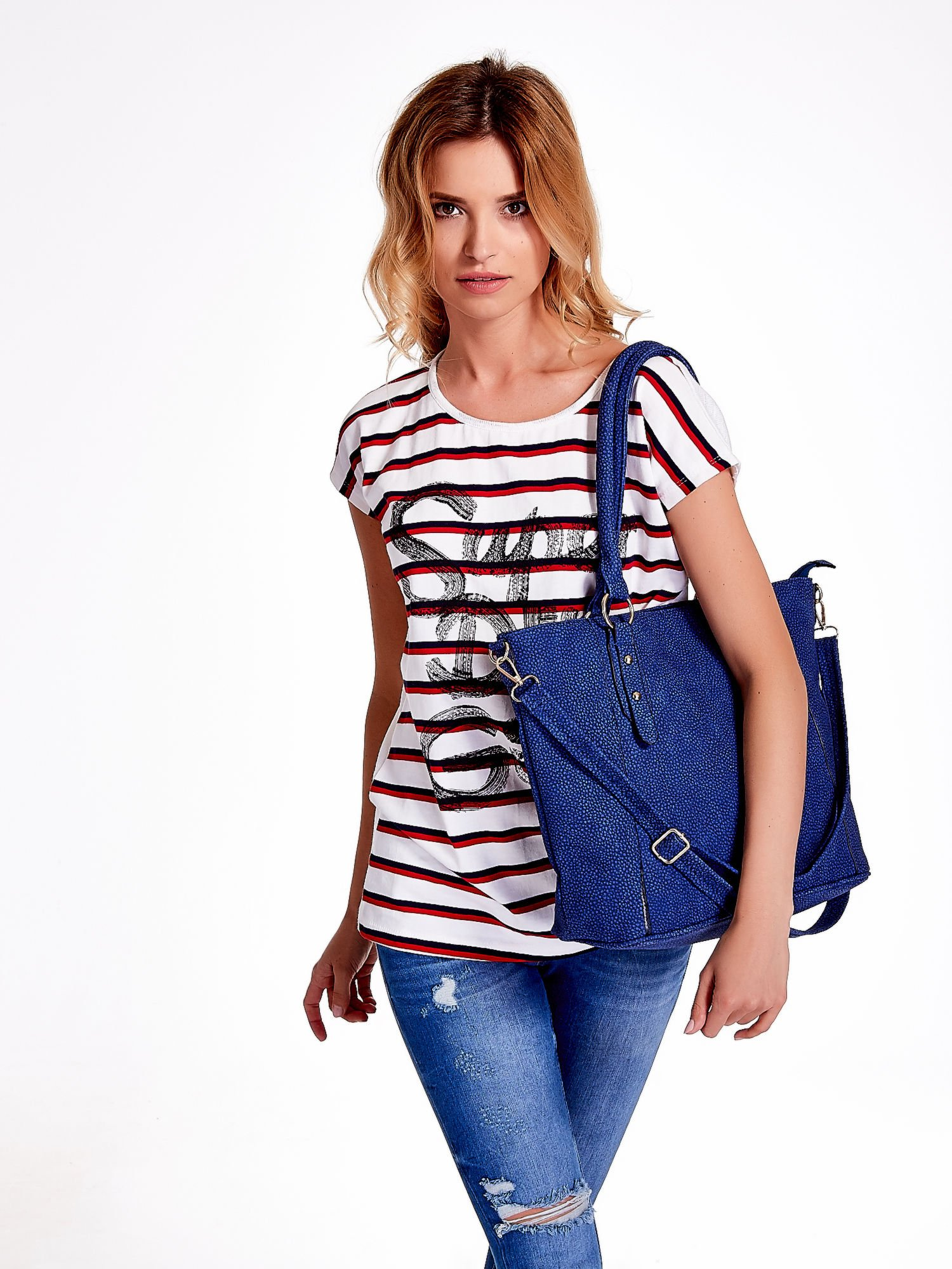 Niebieska miejska torba z ozdobnymi klamrami                                  zdj.                                  6