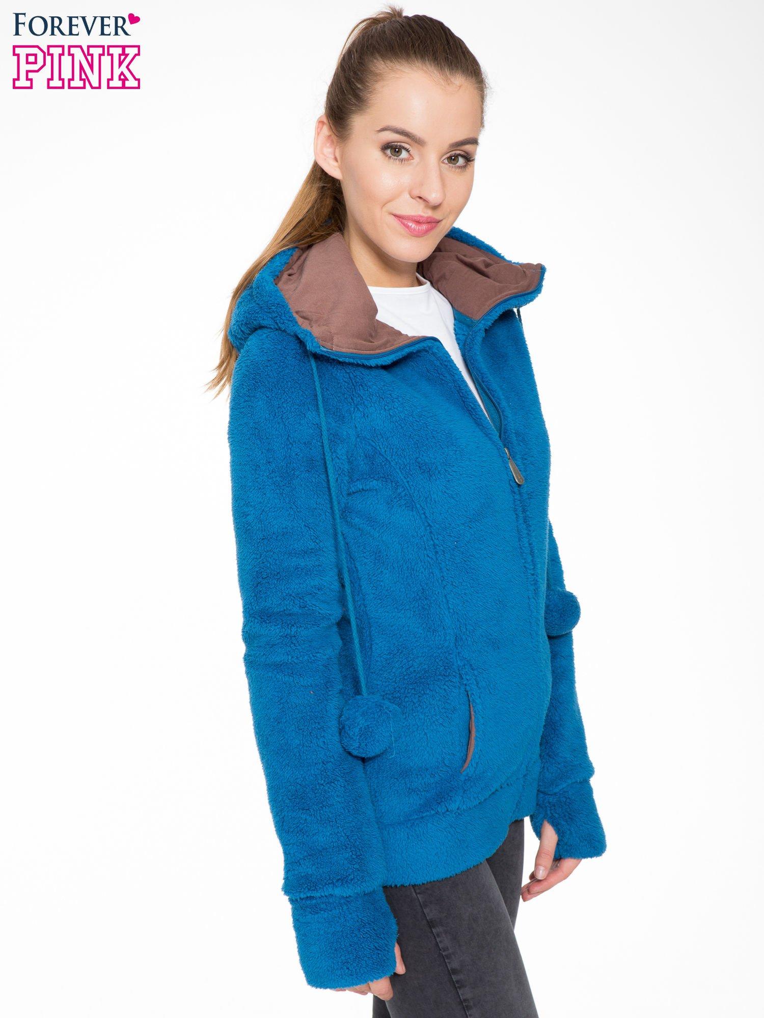 Niebieska polarowa bluza miś z kapturem z uszkami i pomponami                                  zdj.                                  3