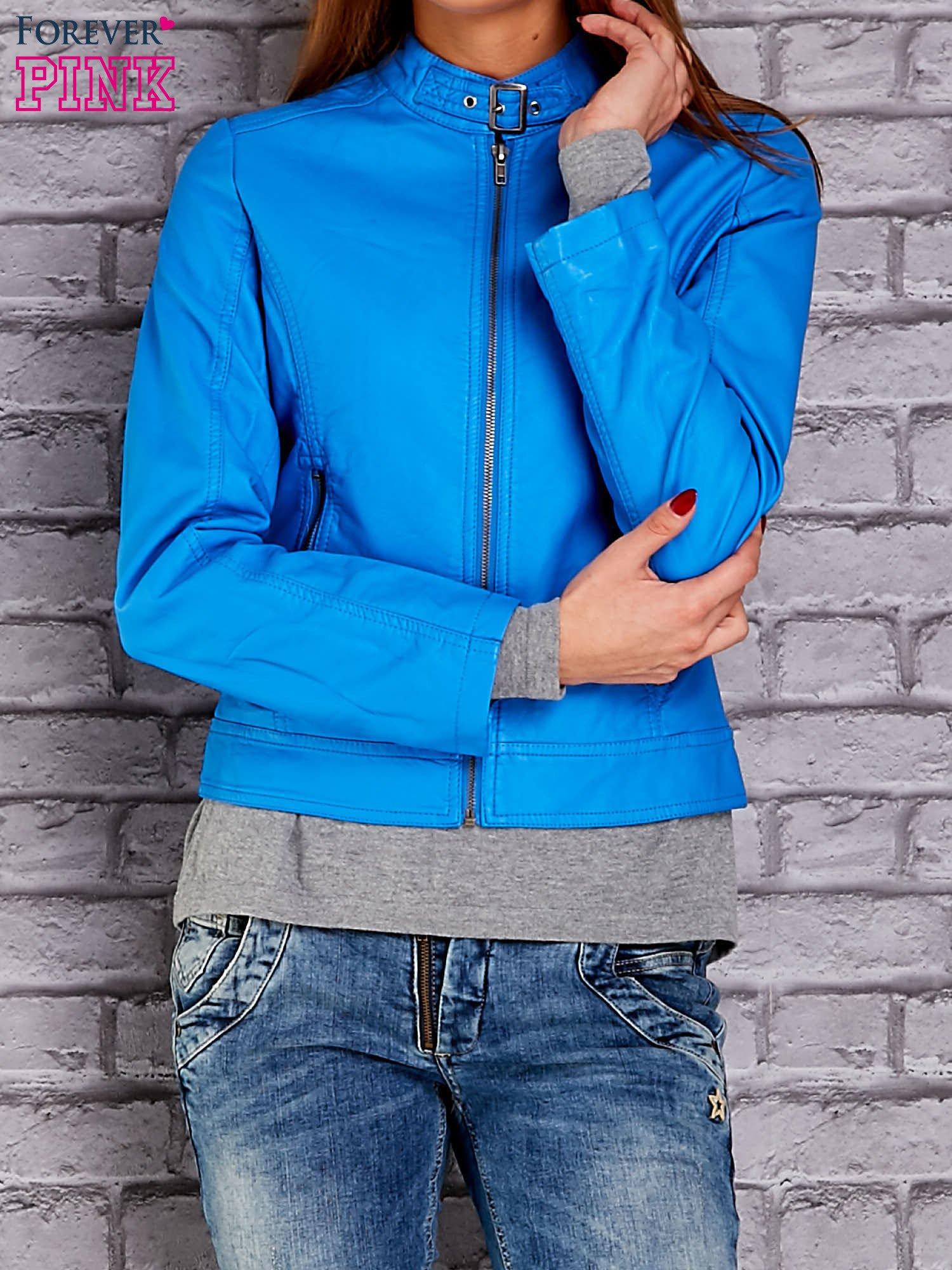 Niebieska skórzana kurtka o klasycznym kroju                                  zdj.                                  1