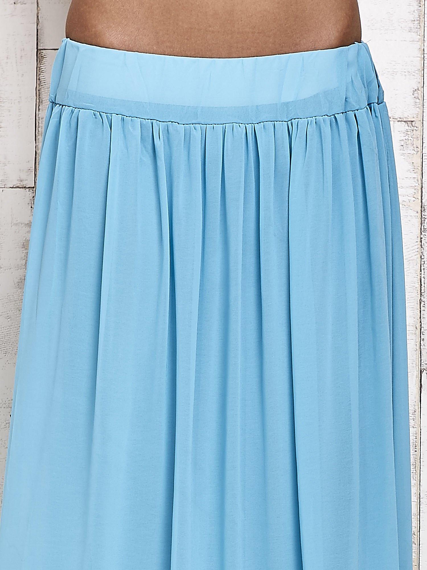 Niebieska spódnica maxi na gumkę w pasie                                  zdj.                                  4