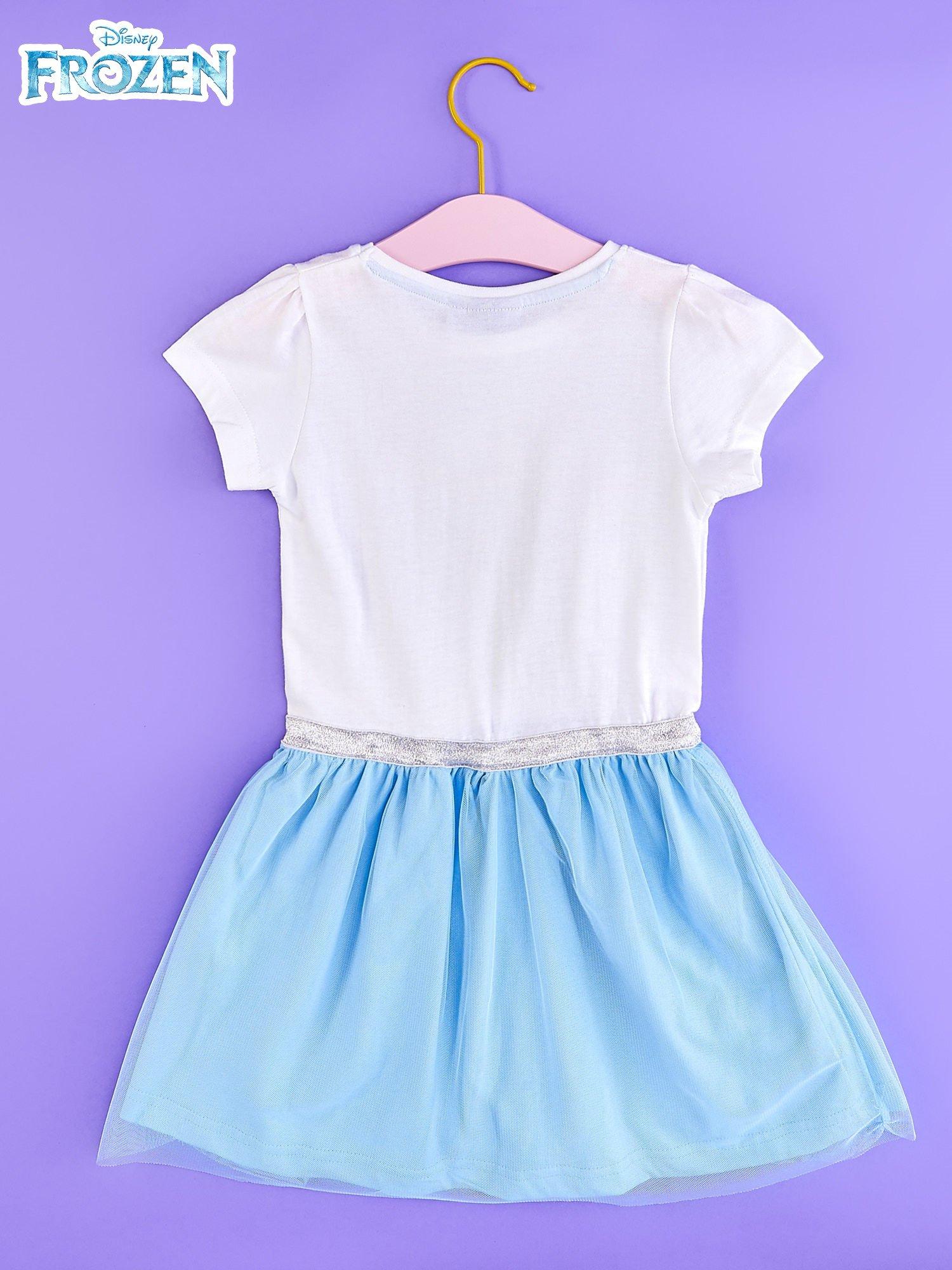 Niebieska sukienka dla dziewczynki z brokatowym paskiem FROZEN                                  zdj.                                  2