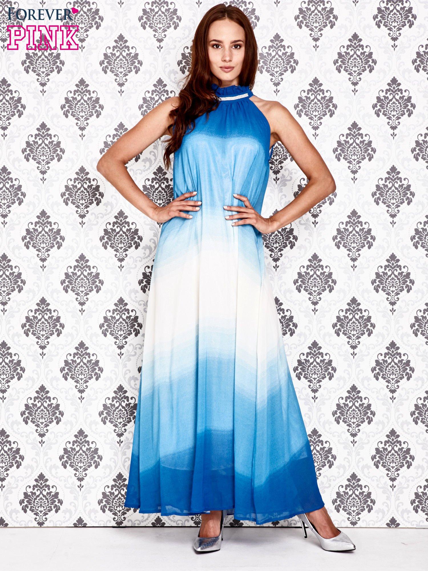 Niebieska sukienka maxi z wiązaniem na plecach                                  zdj.                                  4