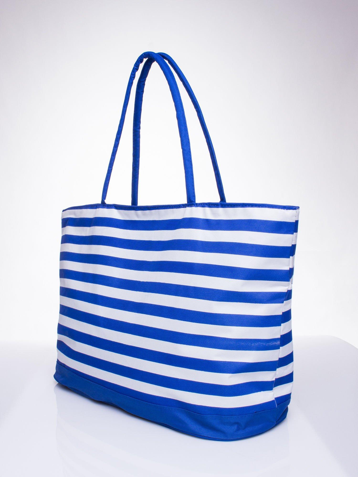 Niebieska torba plażowa w paski                                  zdj.                                  2