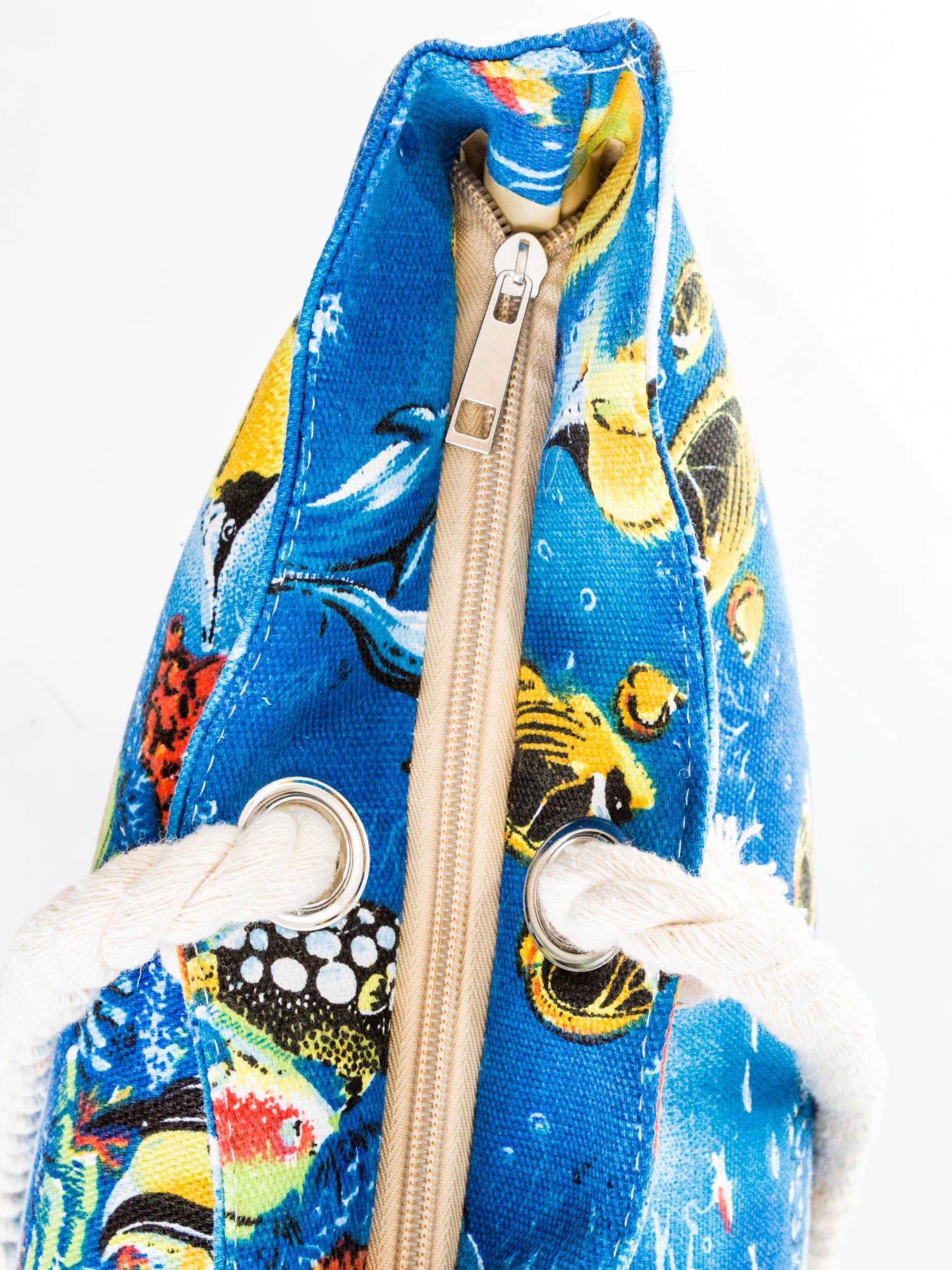 Niebieska torba plażowa z nadrukiem rafy koralowej                                  zdj.                                  6