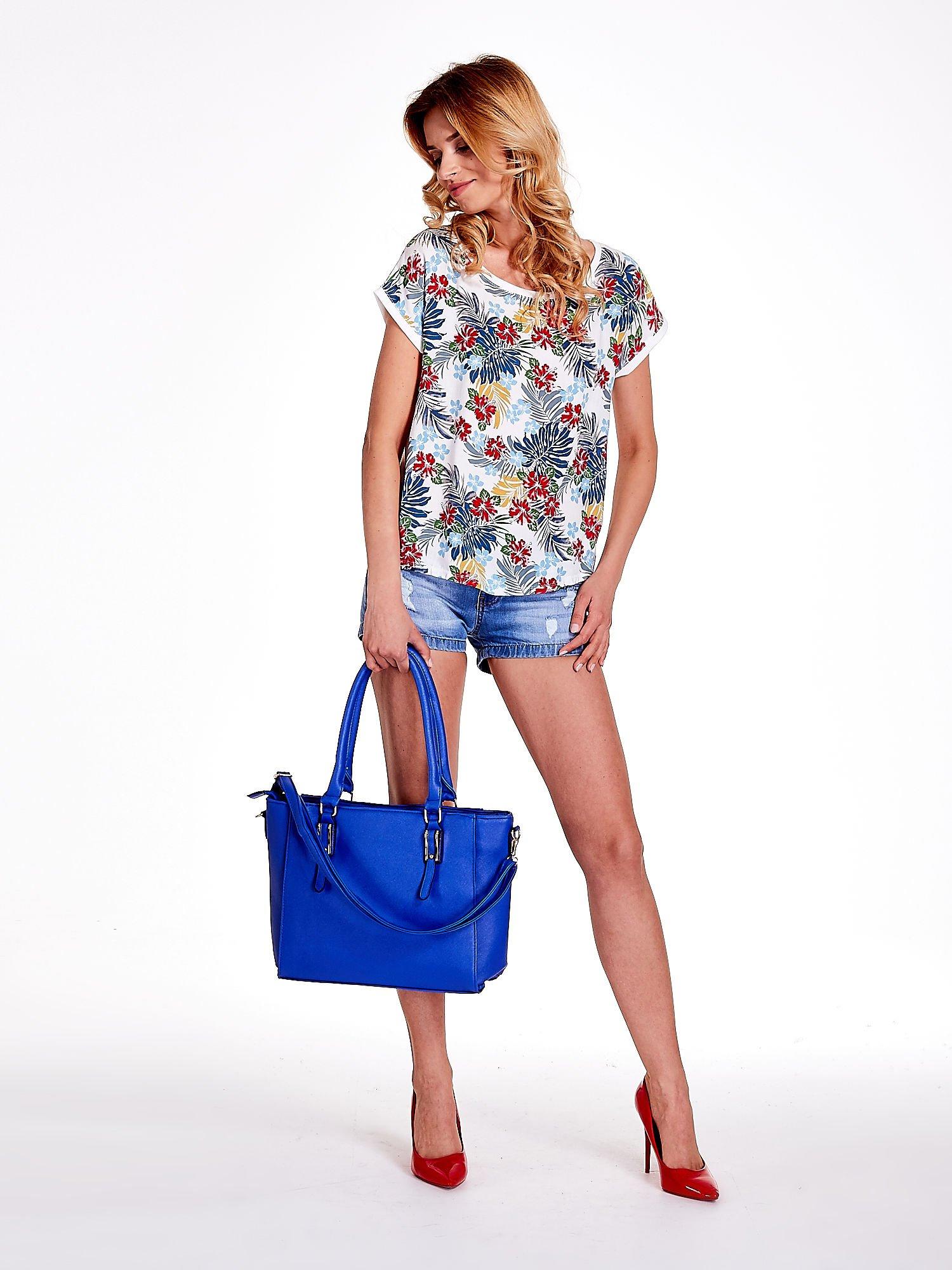 Niebieska torba shopper bag z odpinanym paskiem                                  zdj.                                  2