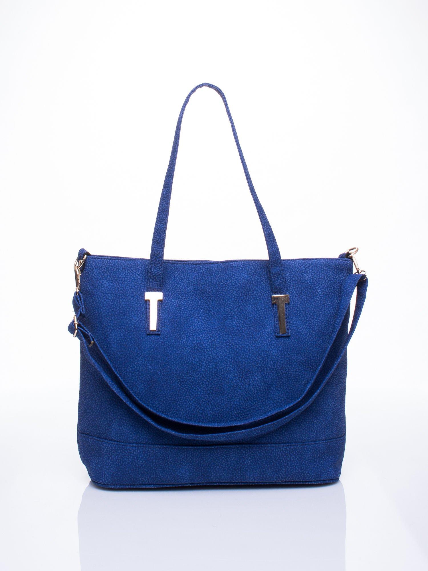 Niebieska torba shopperka z odczepianym paskiem                                   zdj.                                  1