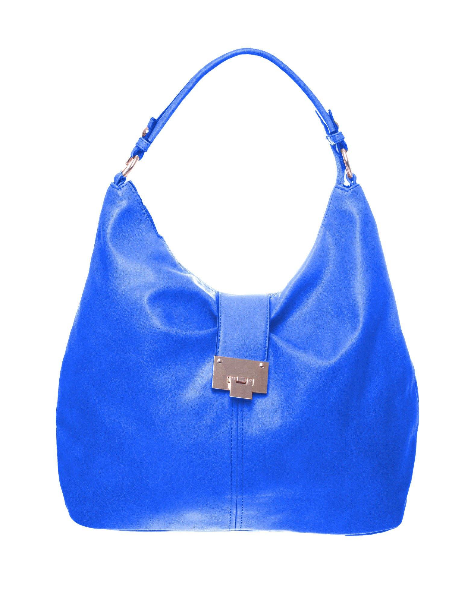 Niebieska torebka hobo z zapięciem                                  zdj.                                  1
