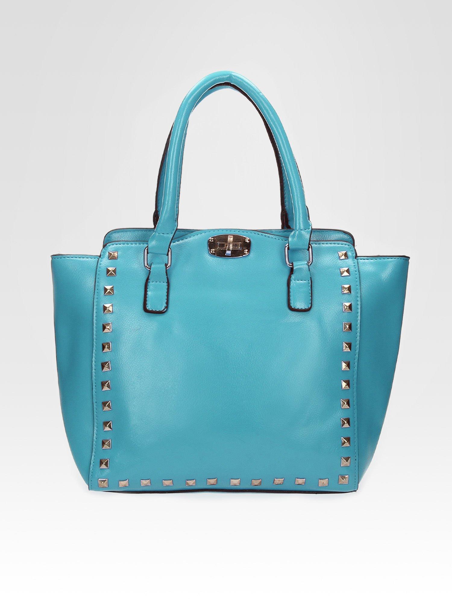 Niebieska torebka na ramię z dżetami                                  zdj.                                  4