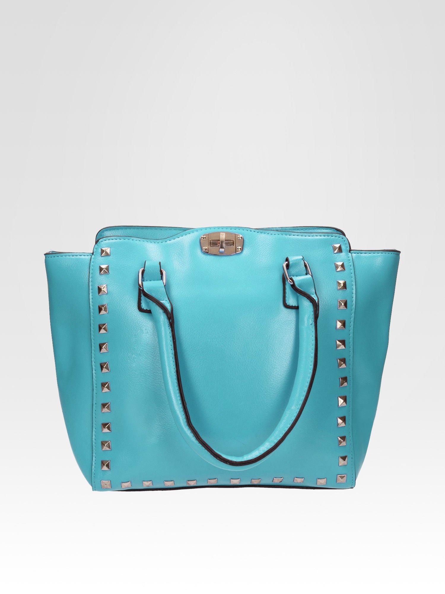 Niebieska torebka na ramię z dżetami                                  zdj.                                  1
