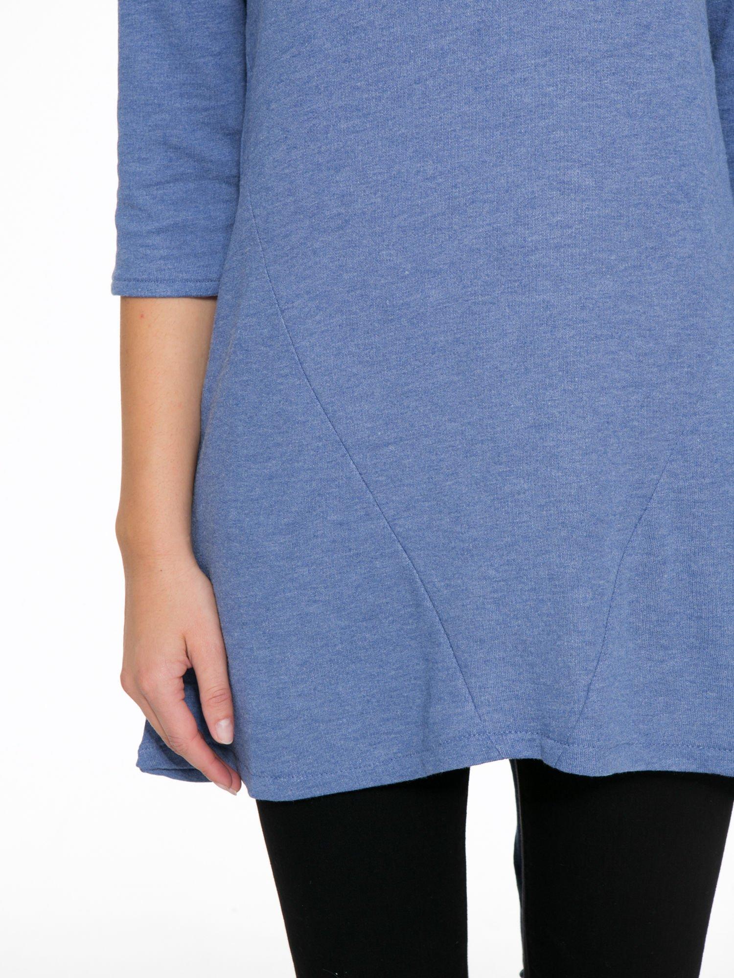 Niebieska tunika o kroju dzwonka wiązana z tyłu                                  zdj.                                  7