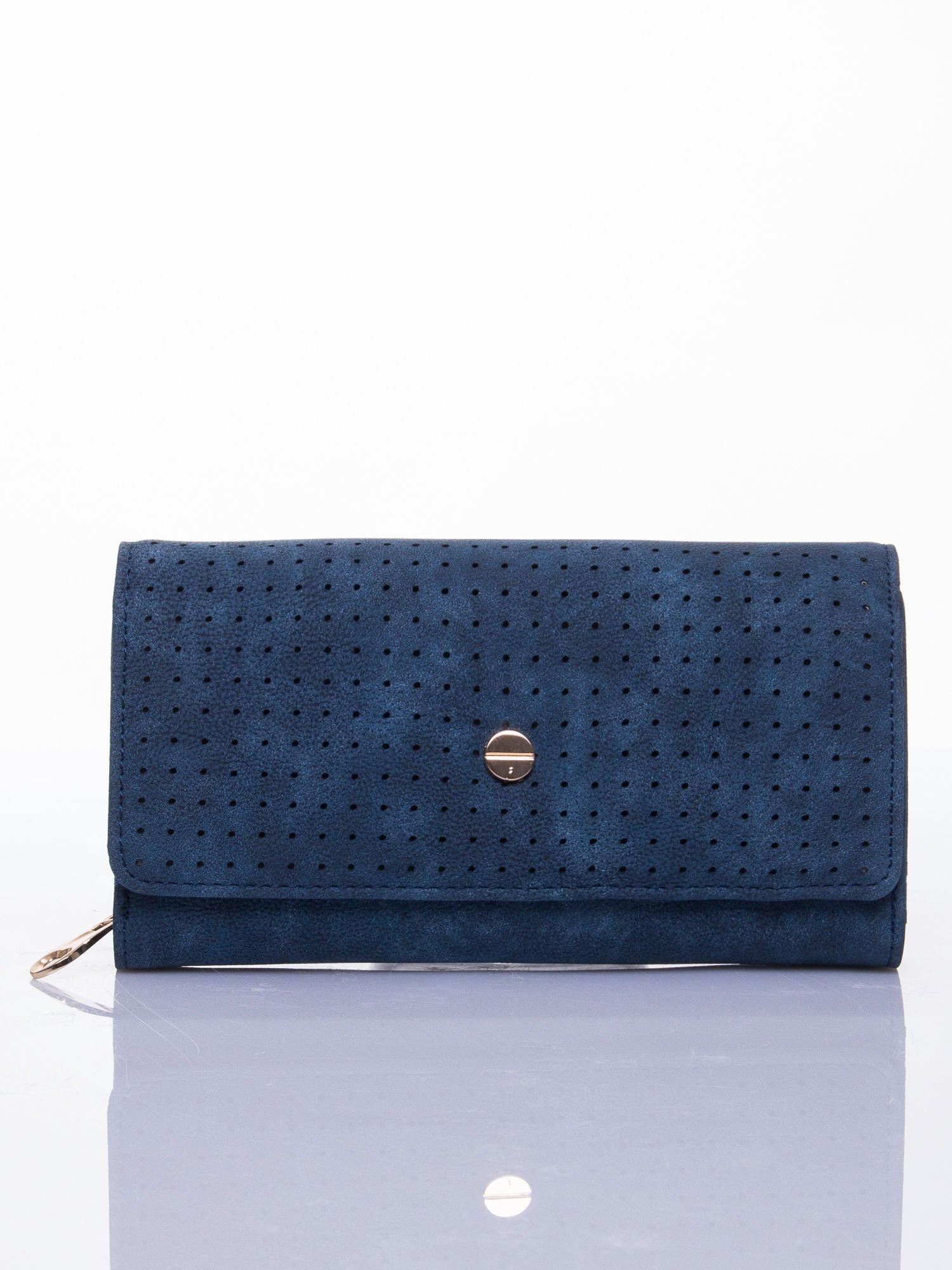 Niebieski ażurowany portfel ze złotym suwakiem                                  zdj.                                  1