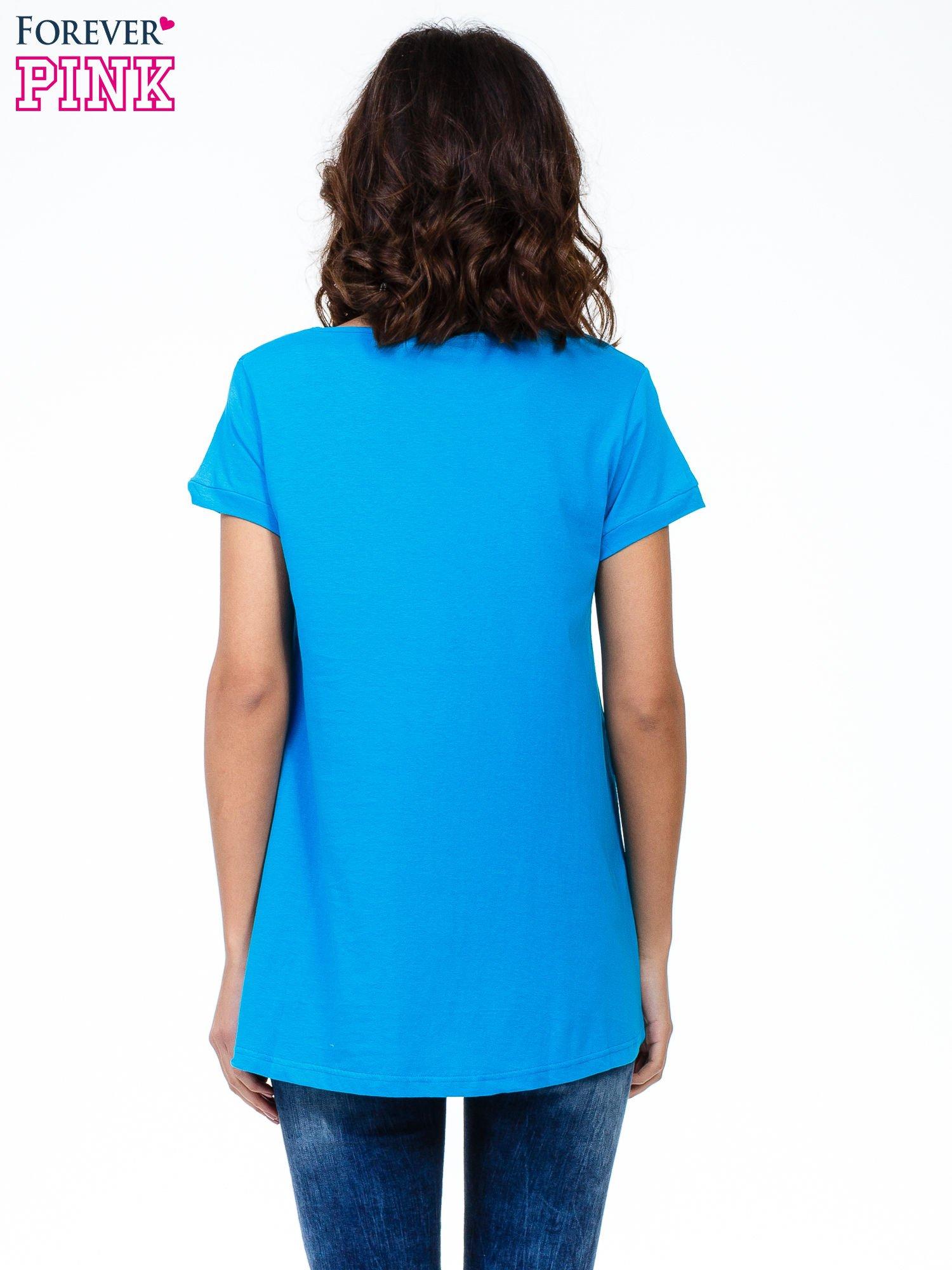 Niebieski luźny t-shirt                                   zdj.                                  4