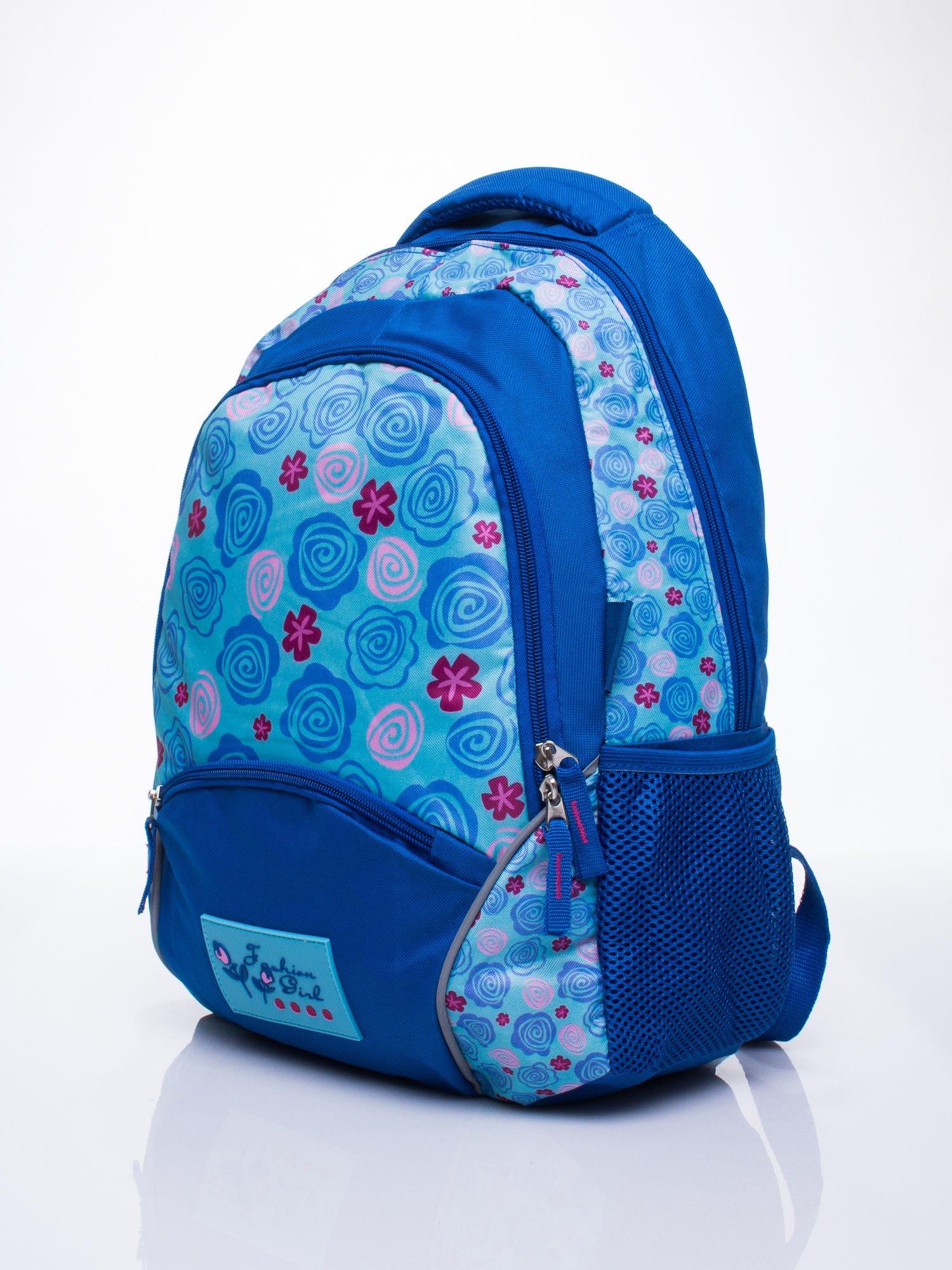 Niebieski plecak szkolny DISNEY w kwiatki                                  zdj.                                  2