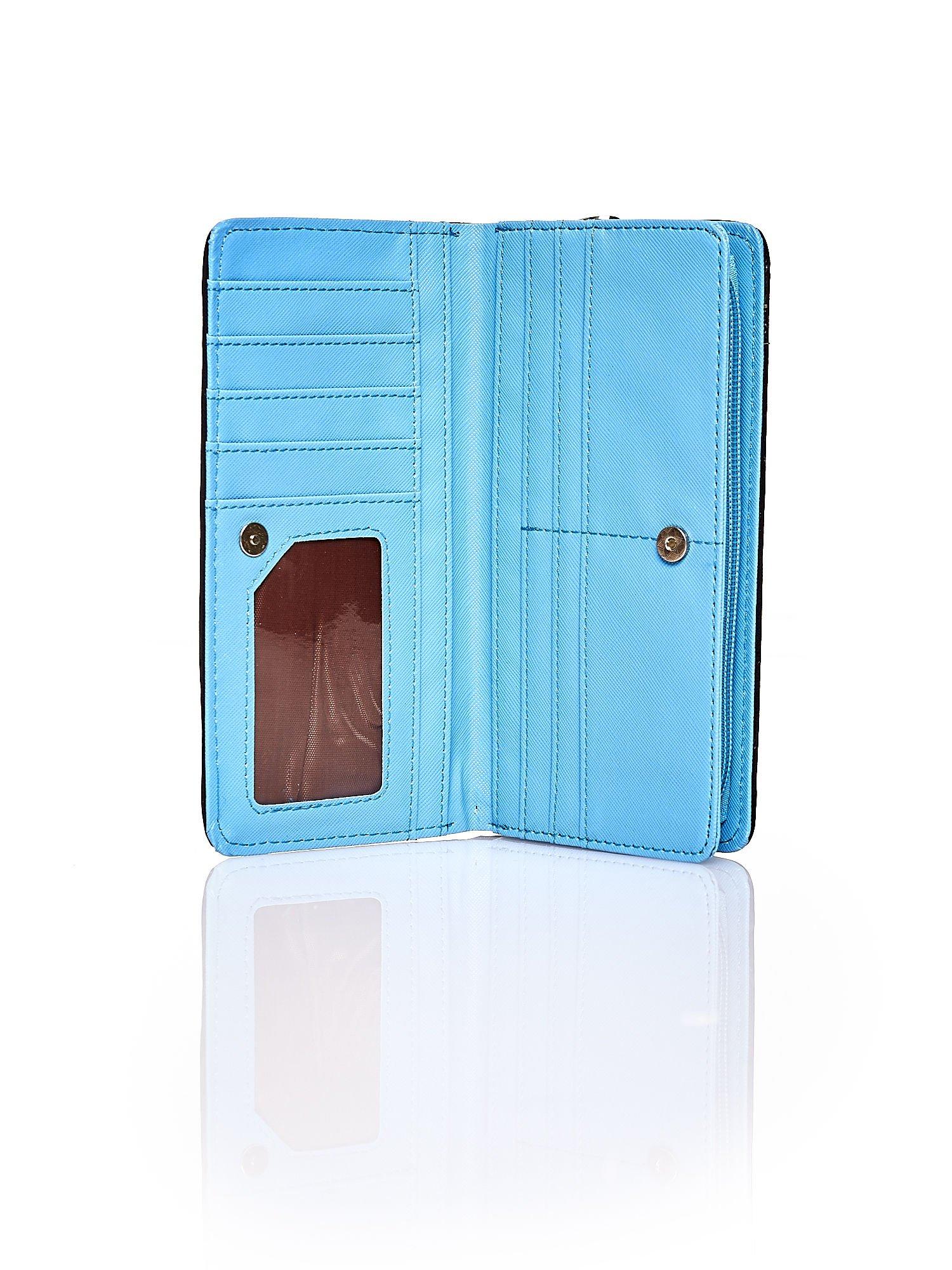Niebieski pleciony portfel w pionowe granatowe paski                                  zdj.                                  3