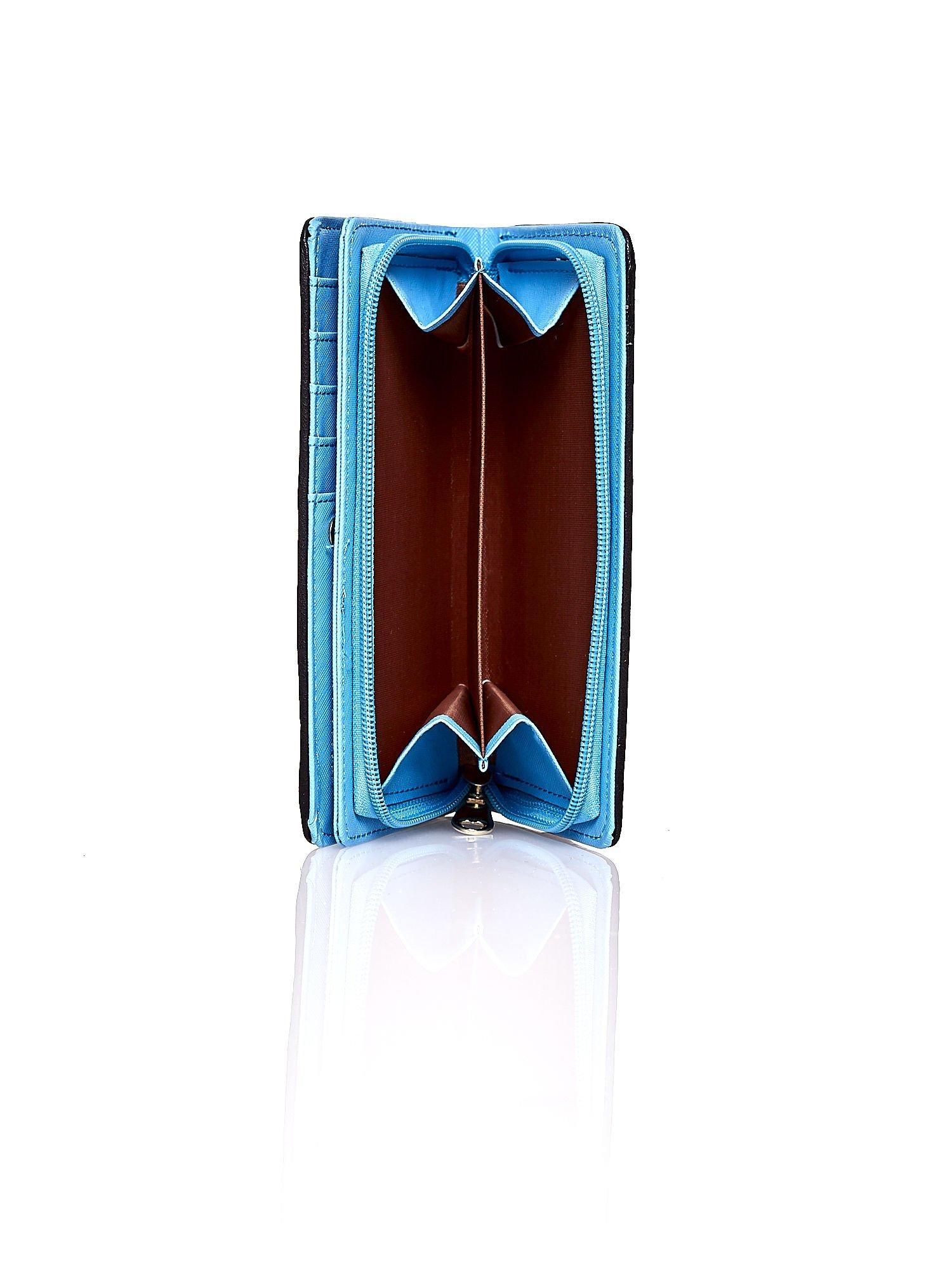 Niebieski pleciony portfel w pionowe granatowe paski                                  zdj.                                  4
