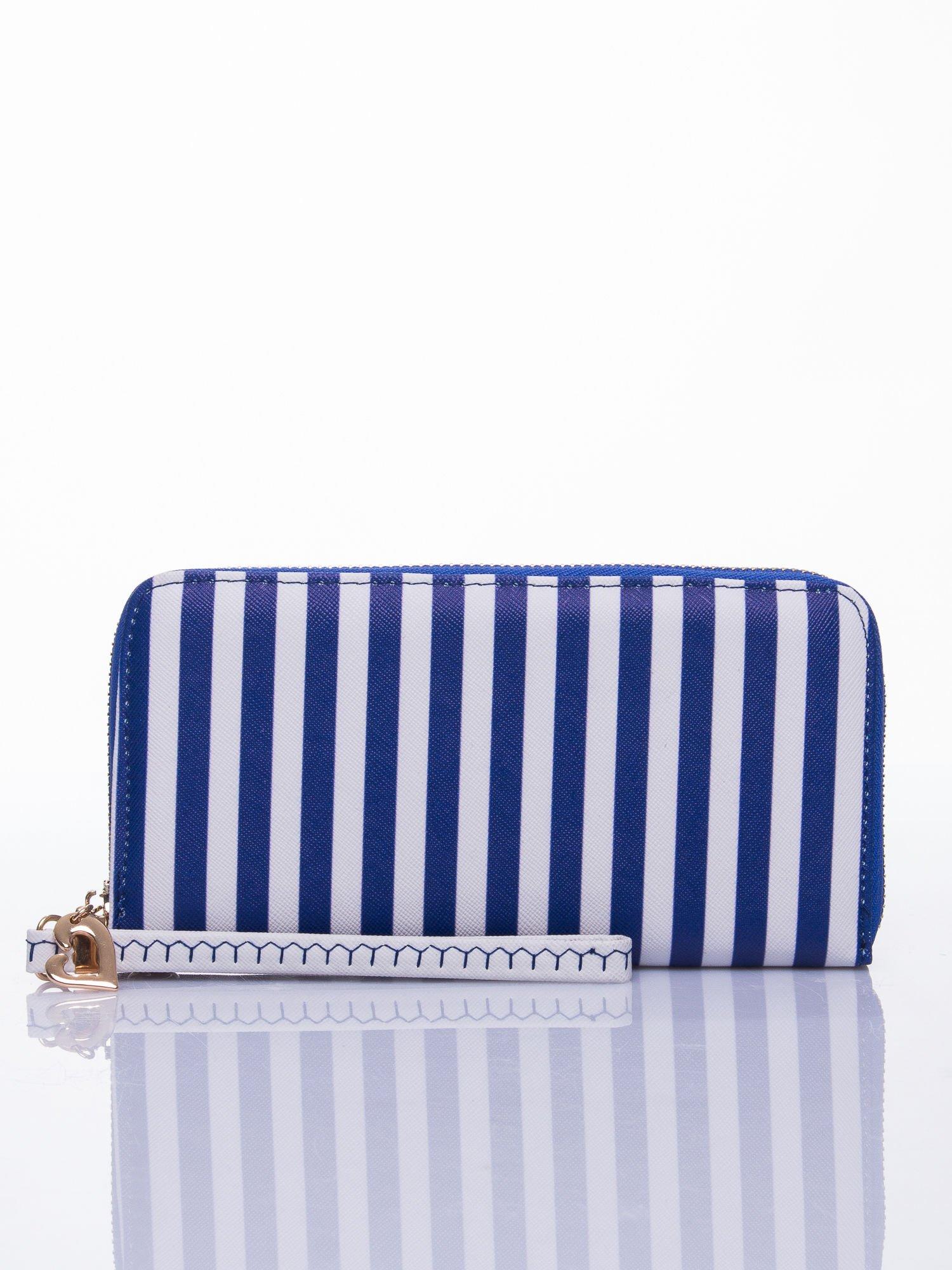 Niebieski portfel w paski z uchwytem                                  zdj.                                  1