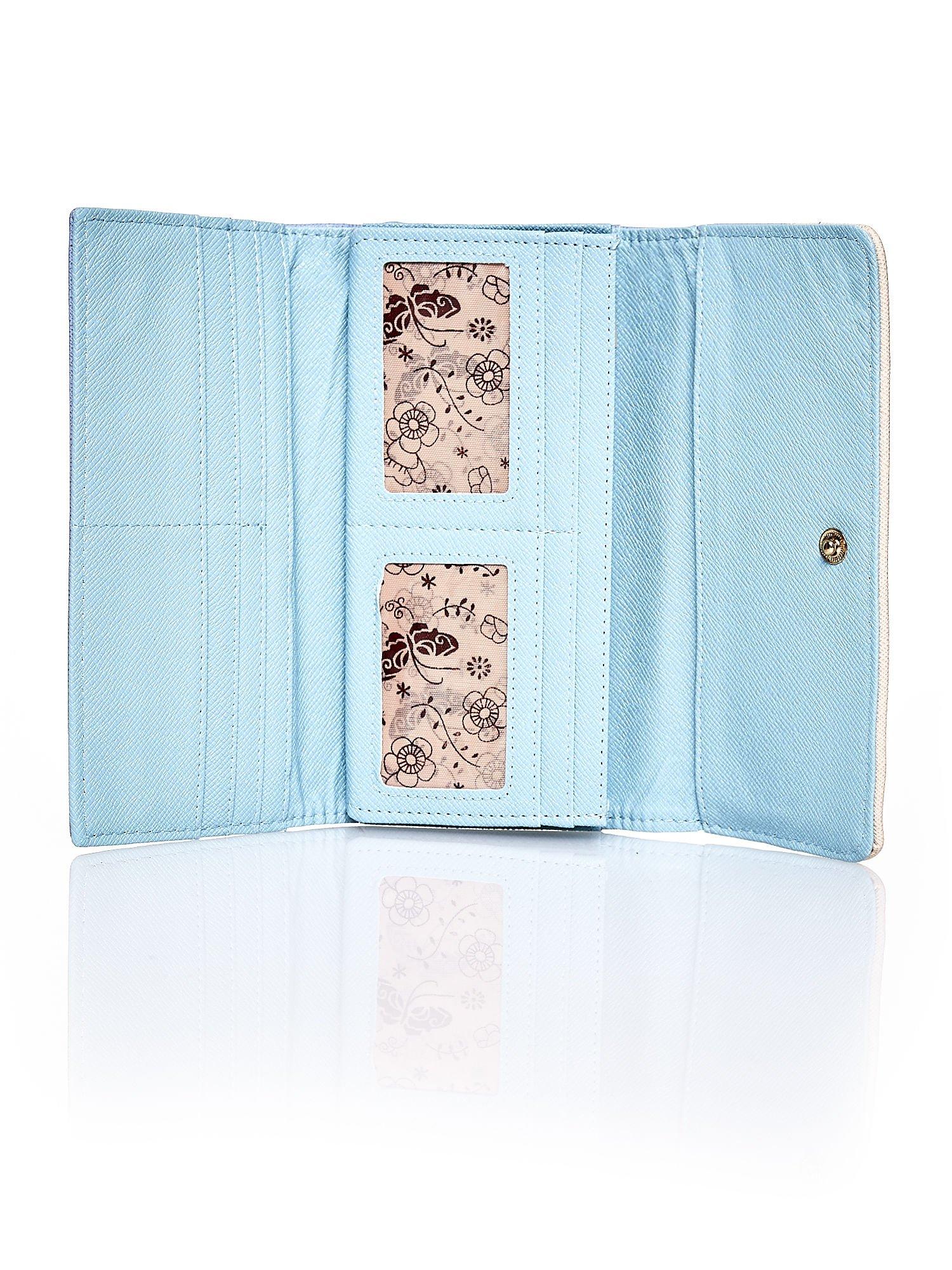 Niebieski portfel z beżowym wykończeniem                                  zdj.                                  4
