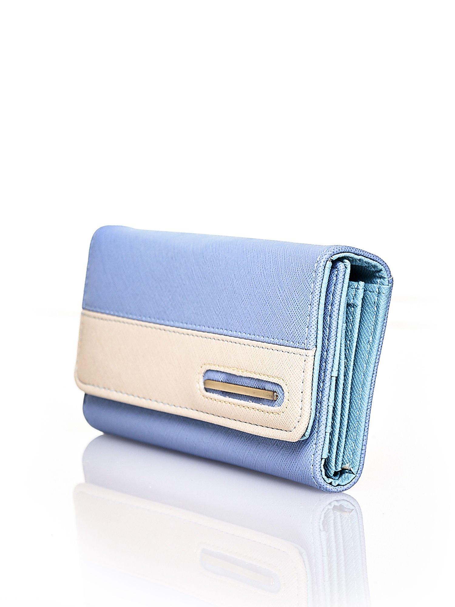 Niebieski portfel z beżowym wykończeniem                                  zdj.                                  3