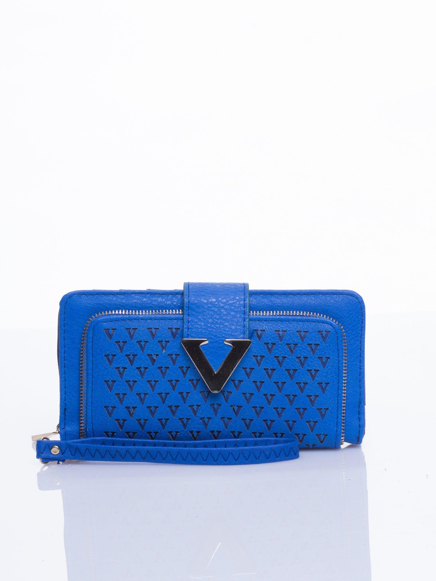 Niebieski portfel ze złotym detalem V                                  zdj.                                  1