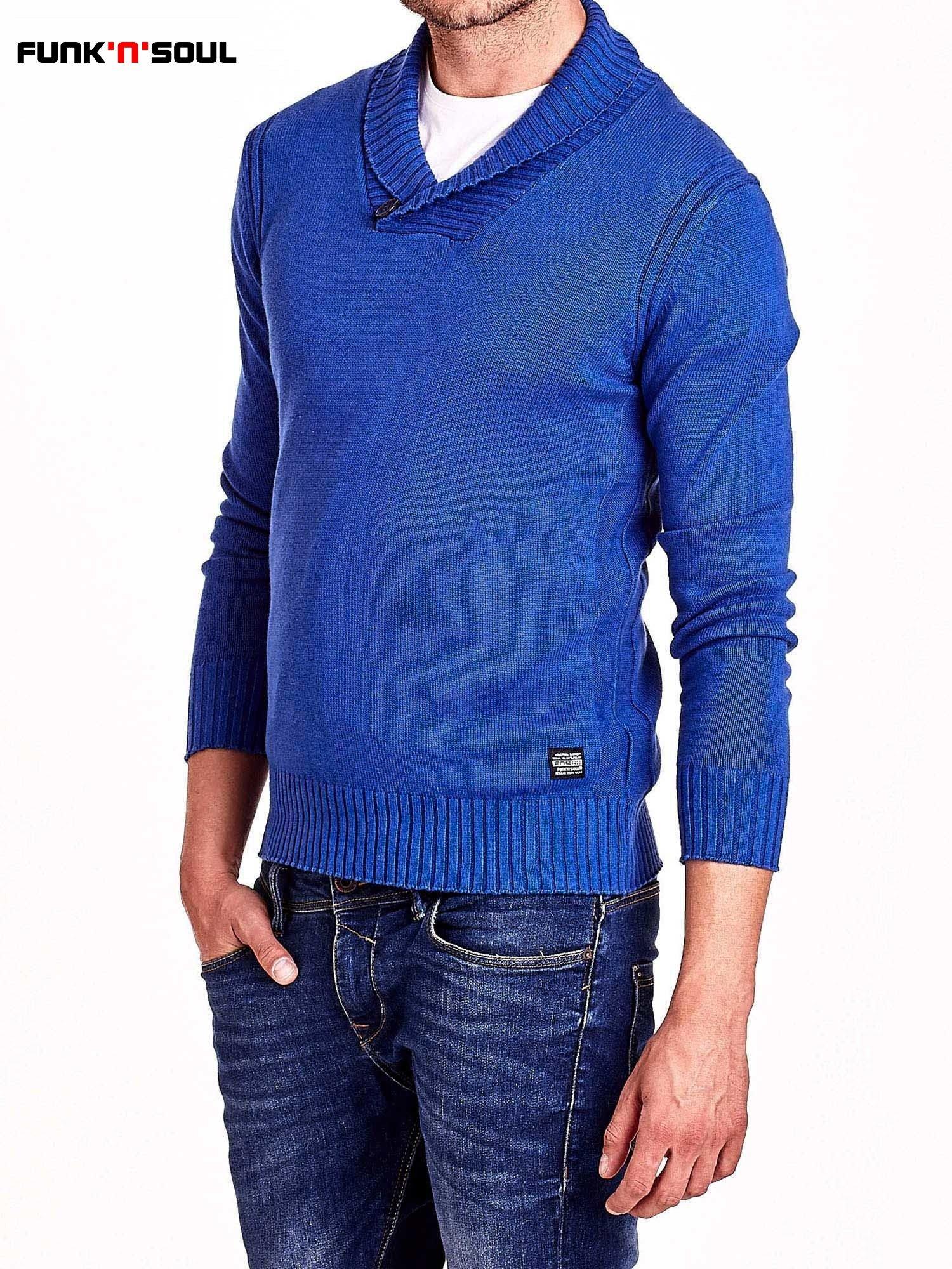 Niebieski sweter męski z kołnierzykiem FUNK N SOUL                                  zdj.                                  4