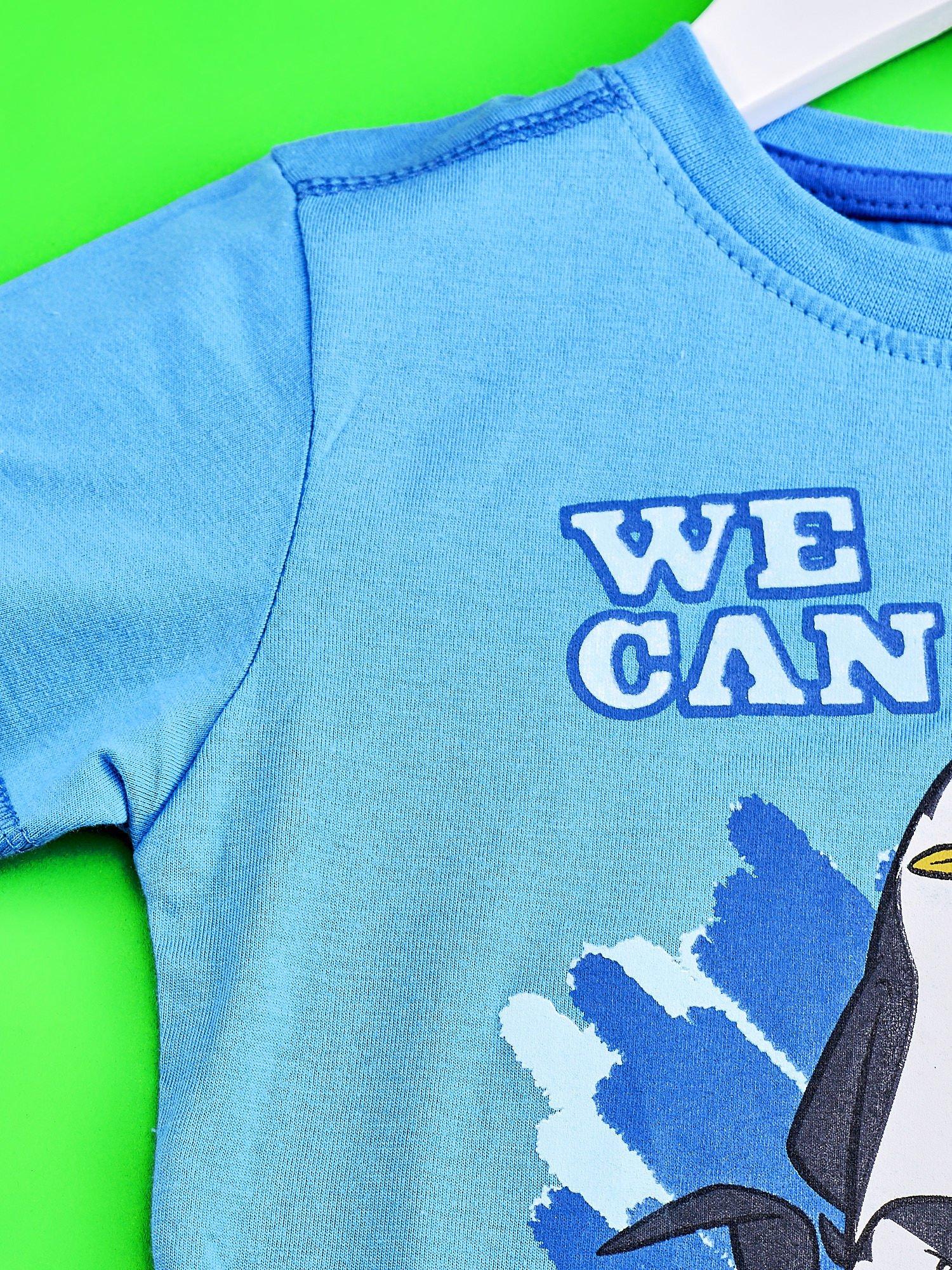 Niebieski t-shirt chłopięcy PINGWINY Z MADAGASKARU                                  zdj.                                  3
