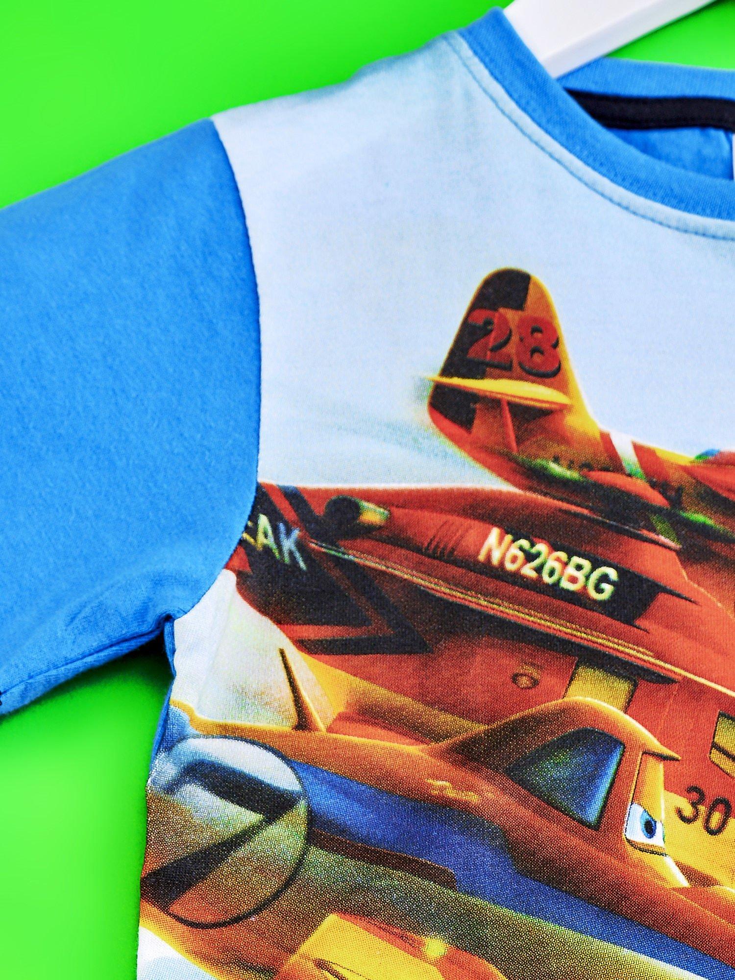 Niebieski t-shirt dziecięcy z nadrukiem SAMOLOTY                                  zdj.                                  3