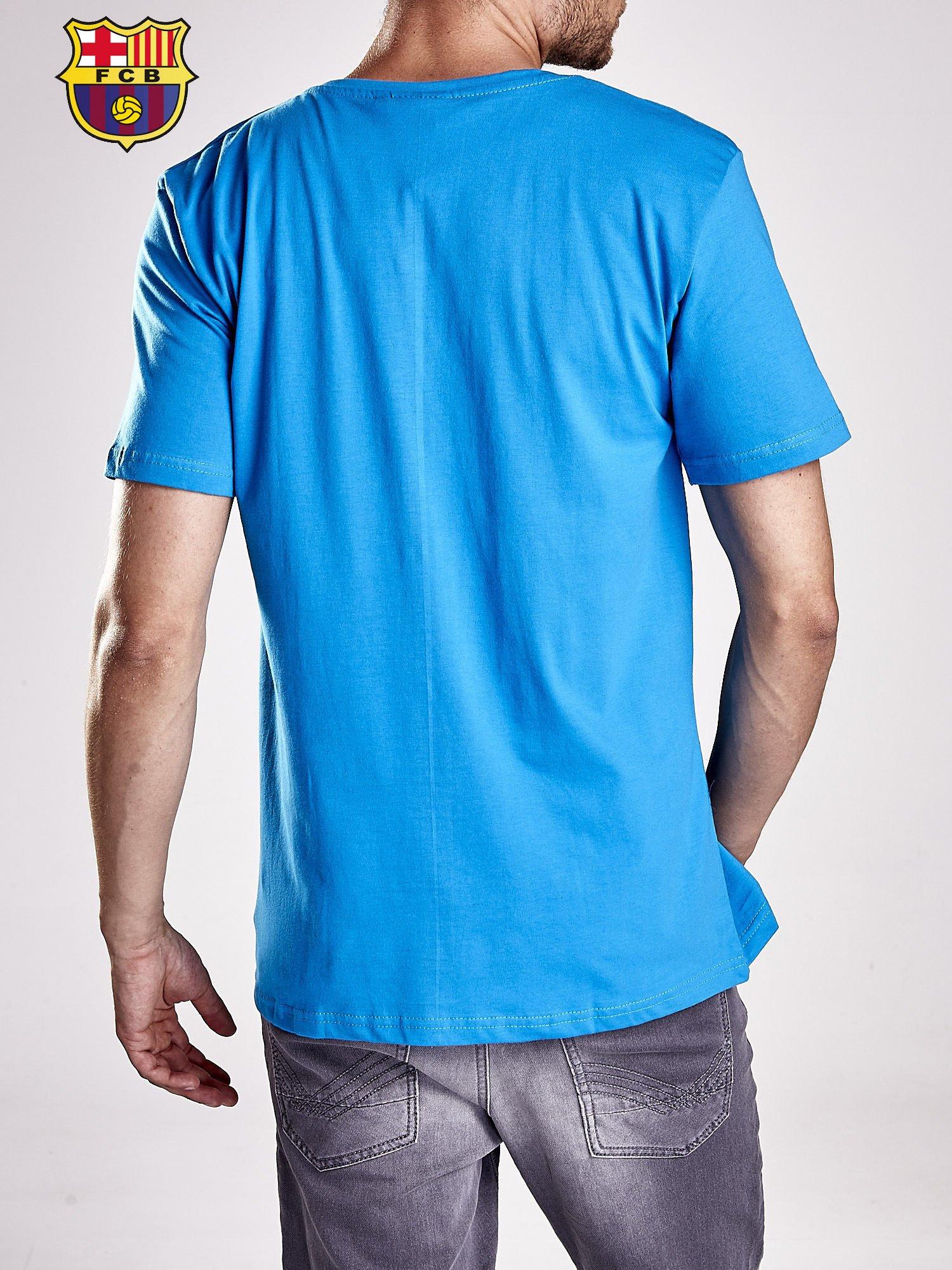 Niebieski t-shirt męski FC BARCELONA                                  zdj.                                  2