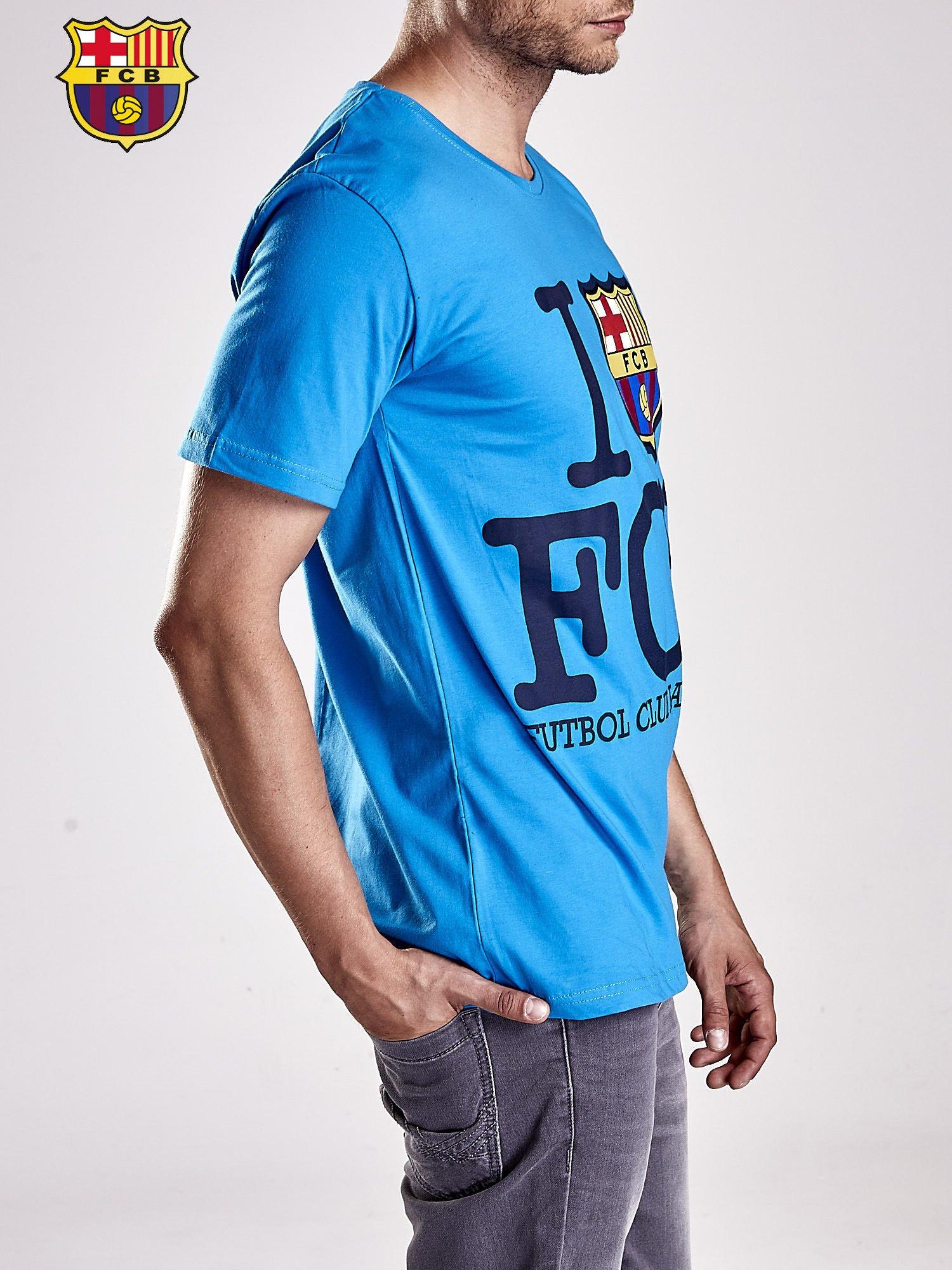 Niebieski t-shirt męski FC BARCELONA                                  zdj.                                  3