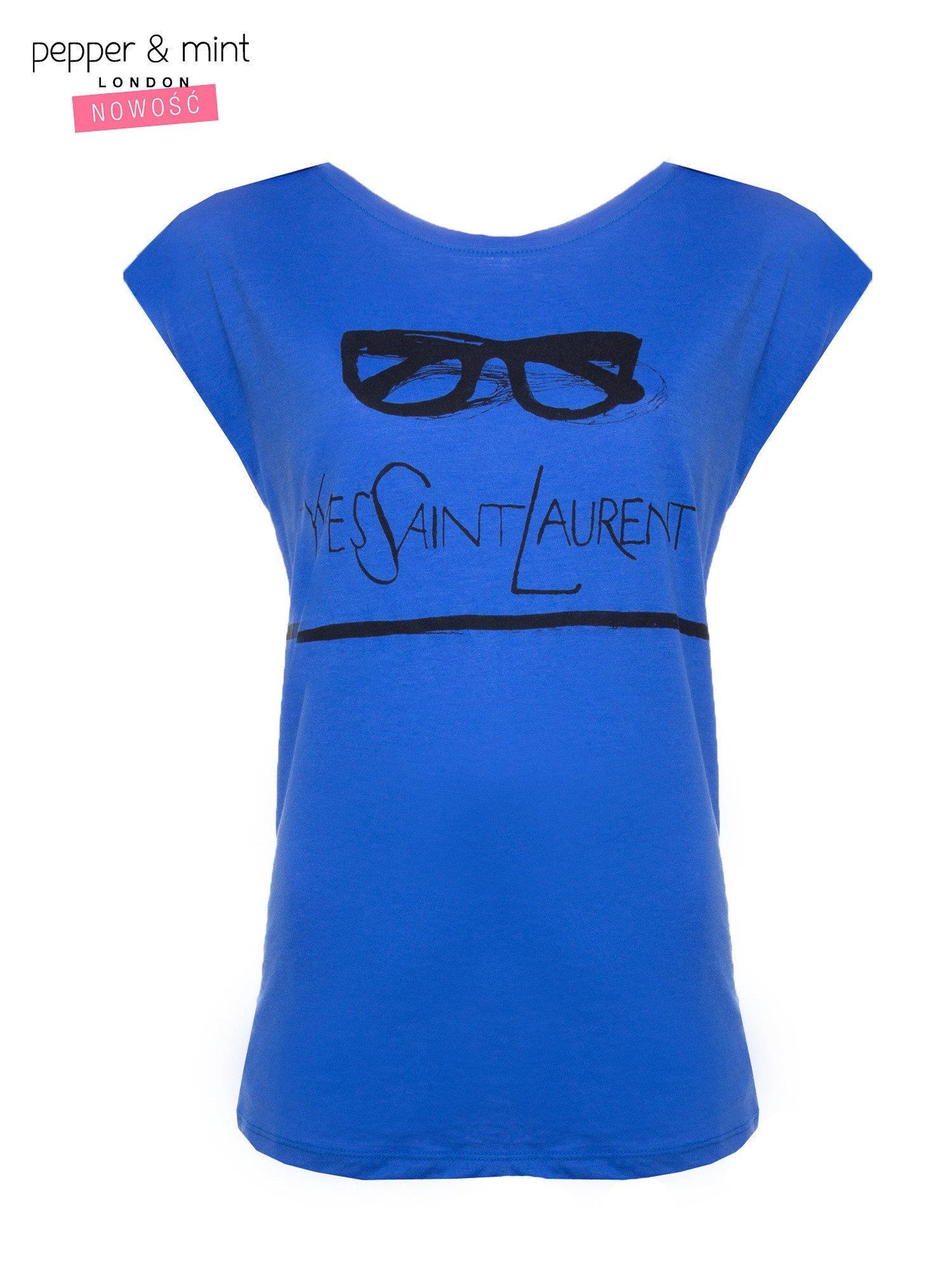 Niebieski t-shirt z nadrukiem YVES SAINT LAURENT                                  zdj.                                  1