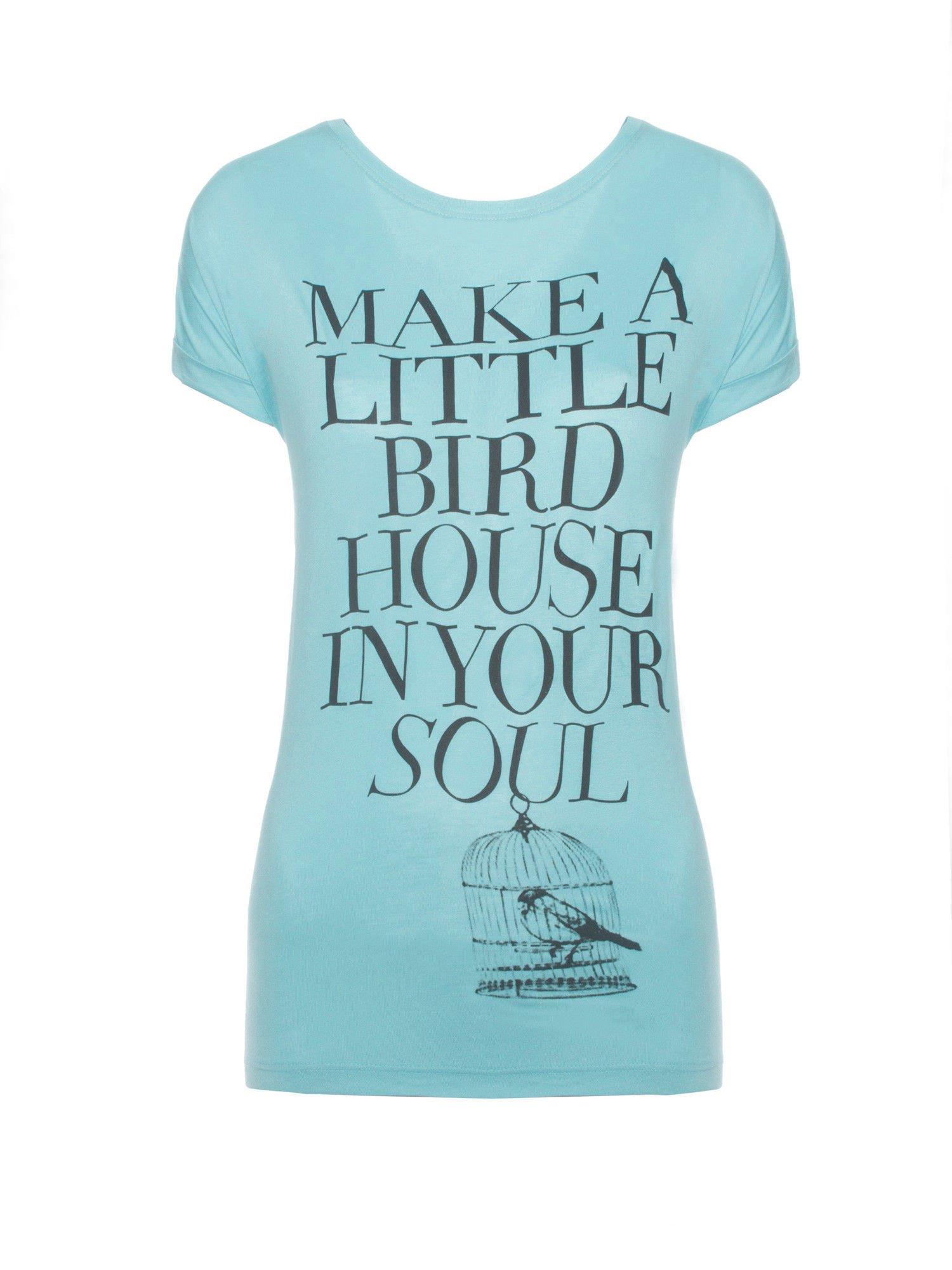Niebieski t-shirt z nadrukiem ptaszka w klatce                                  zdj.                                  1