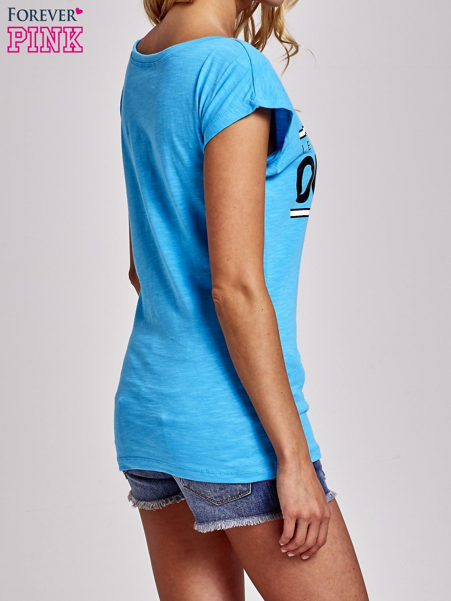 Niebieski t-shirt z napisem OUTSIDER                                  zdj.                                  4
