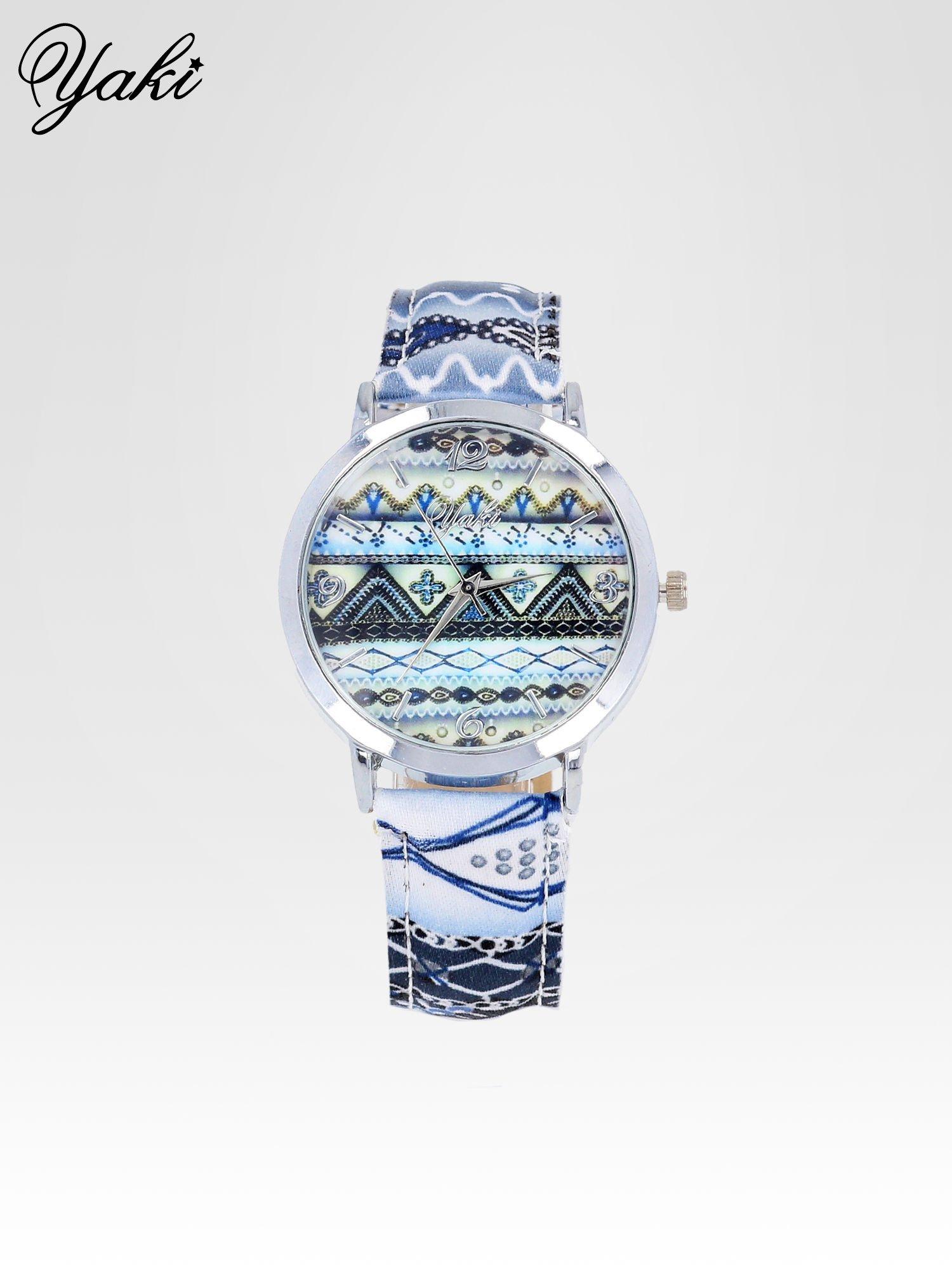 Niebieski zegarek damski z motywem azteckim                                  zdj.                                  1