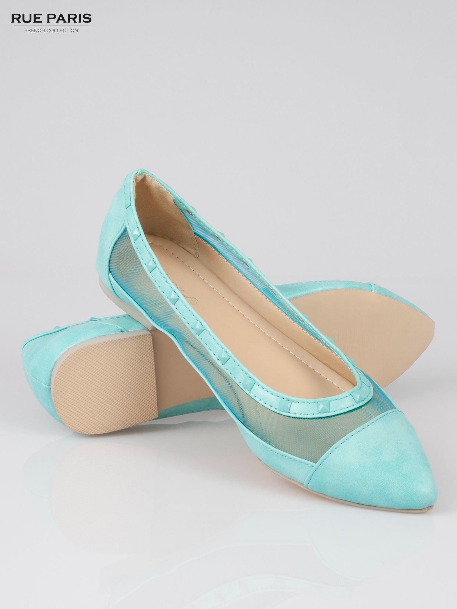 Niebieskie baleriny Crystal leather z siateczką i ćwiekami                                  zdj.                                  4