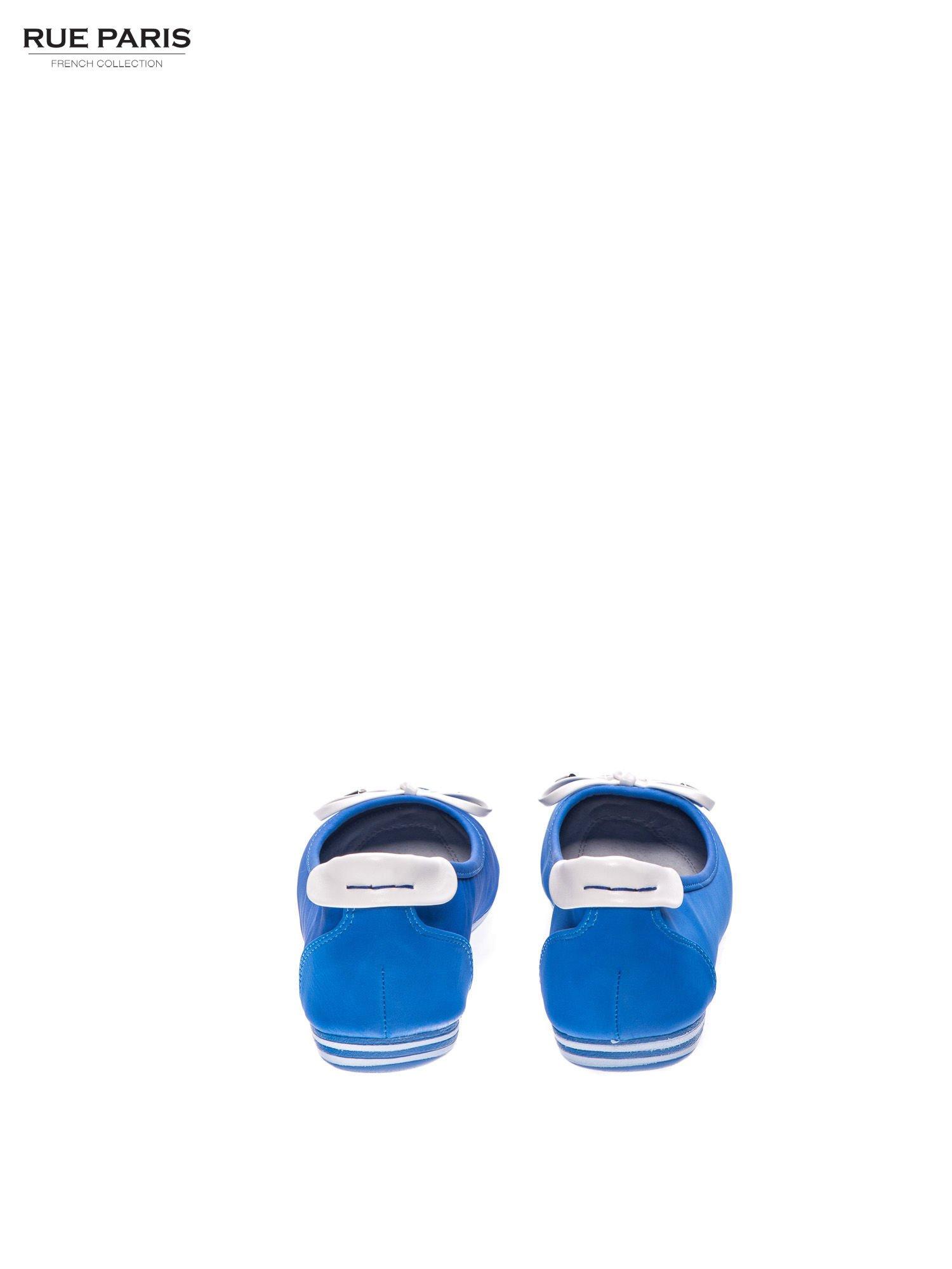 Niebieskie baleriny na niskim koturnie                                  zdj.                                  3
