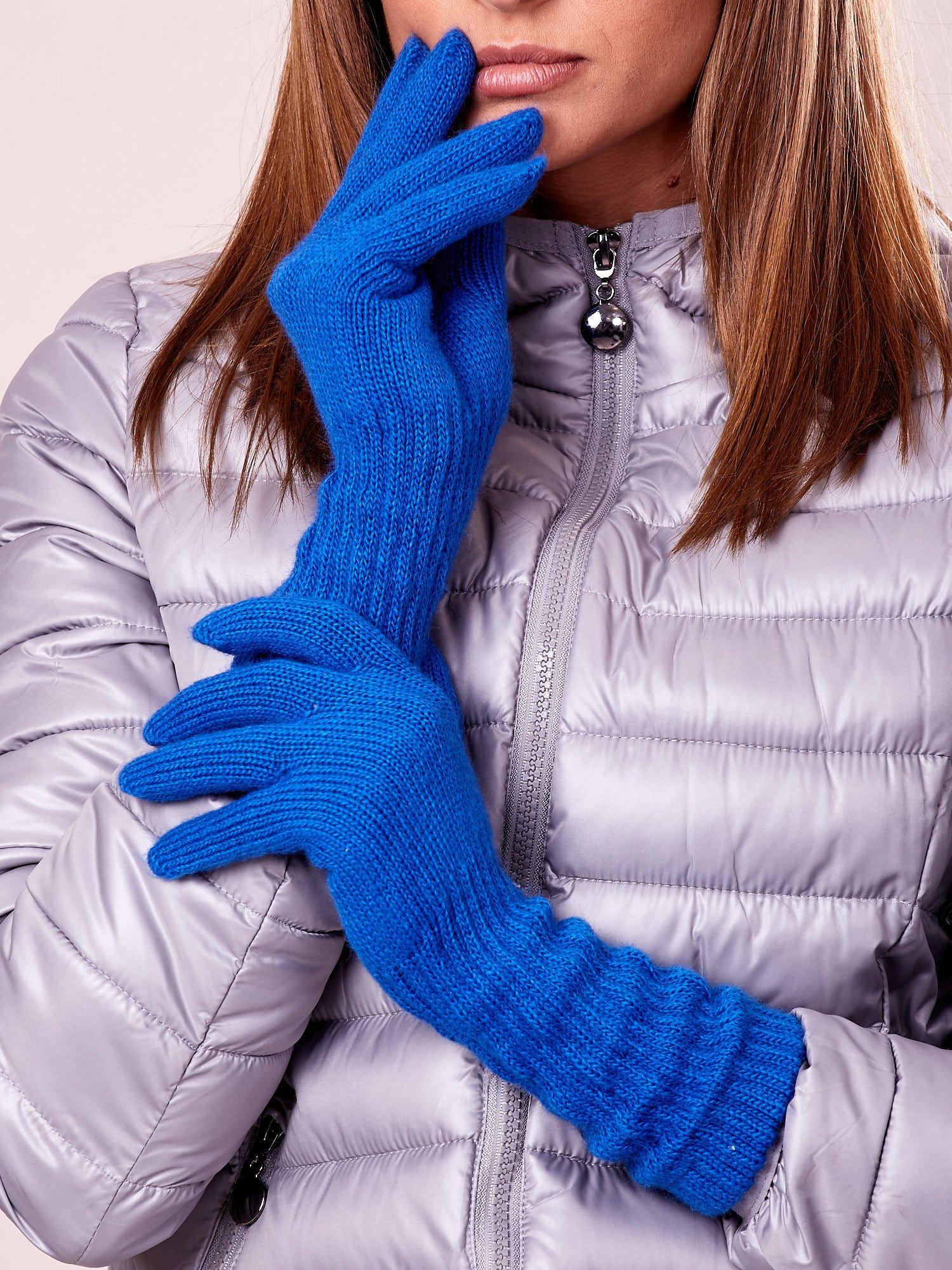 Niebieskie długie rękawiczki z drapowanym rękawem                                  zdj.                                  1