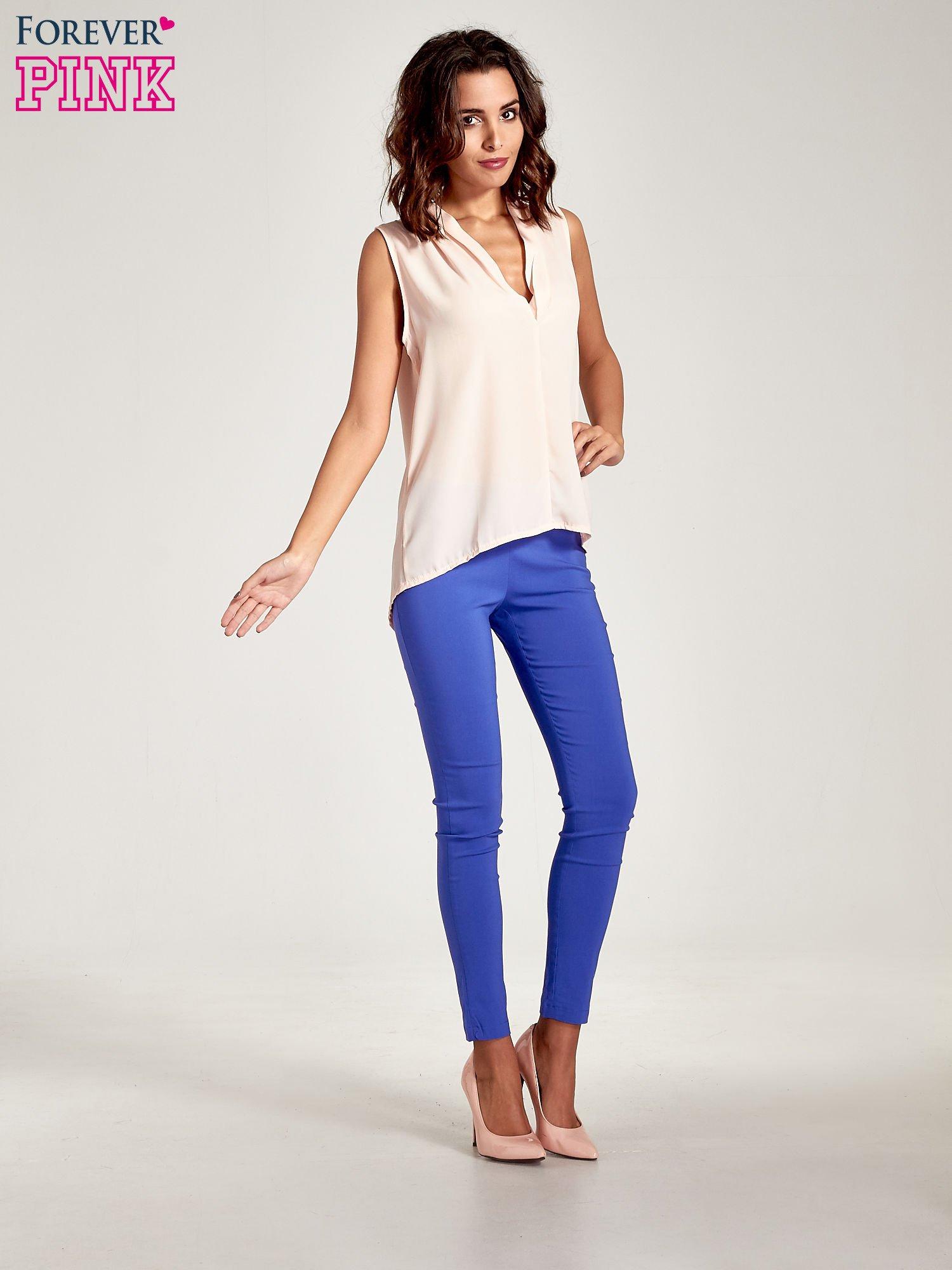 Niebieskie dopasowane spodnie typu tregginsy                                  zdj.                                  8