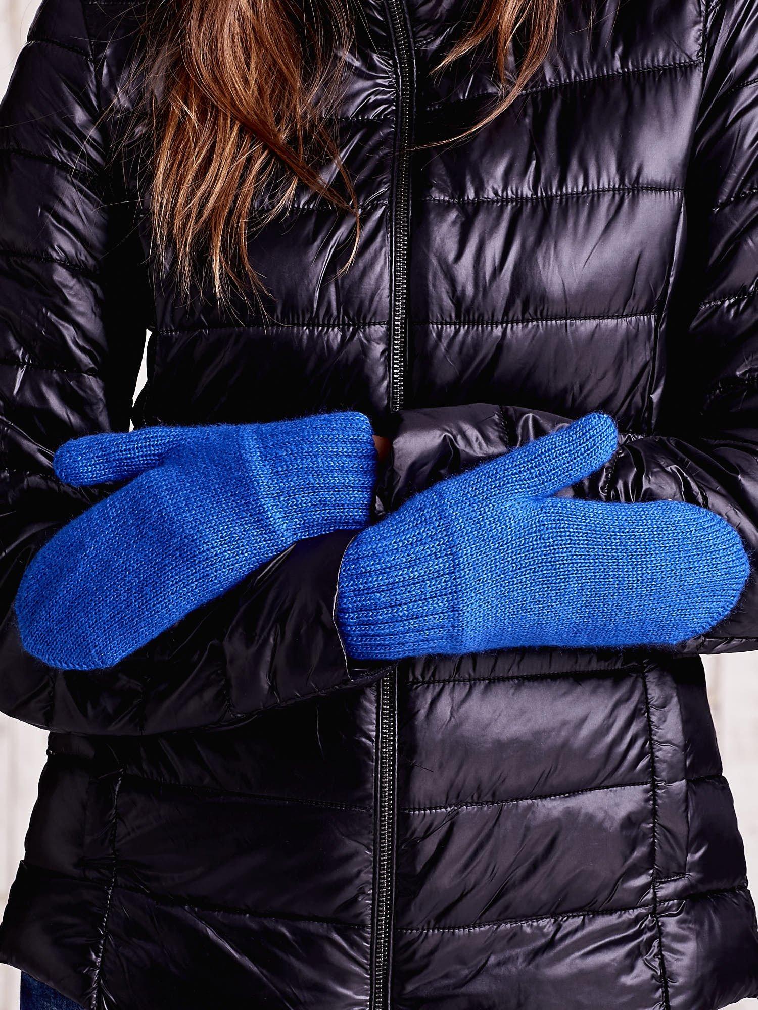 Niebieskie gładkie rękawiczki z jednym palcem                                  zdj.                                  3