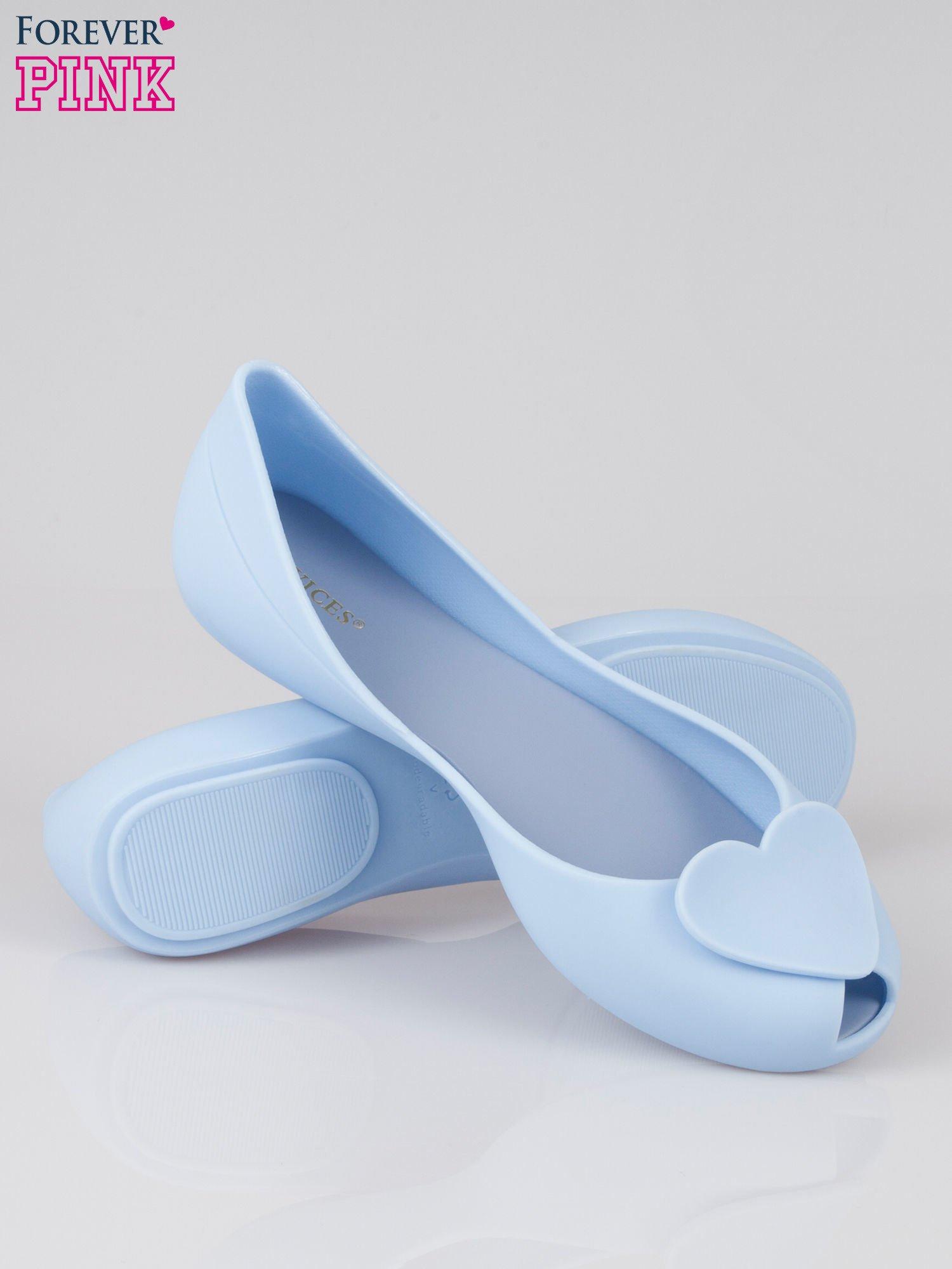 Niebieskie gumowe baleriny meliski z sercem                                  zdj.                                  4