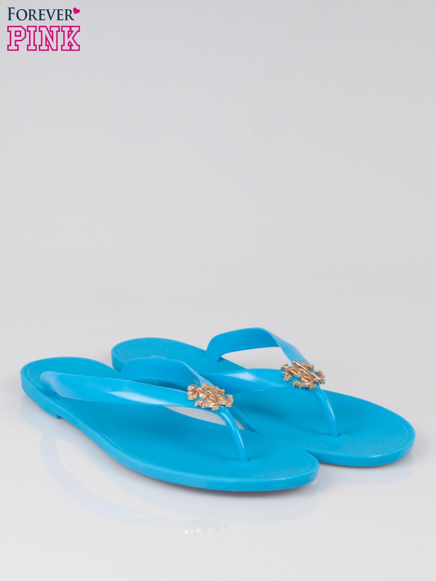 Niebieskie gumowe japonki Siesta ze złotą ozdobą                                  zdj.                                  2