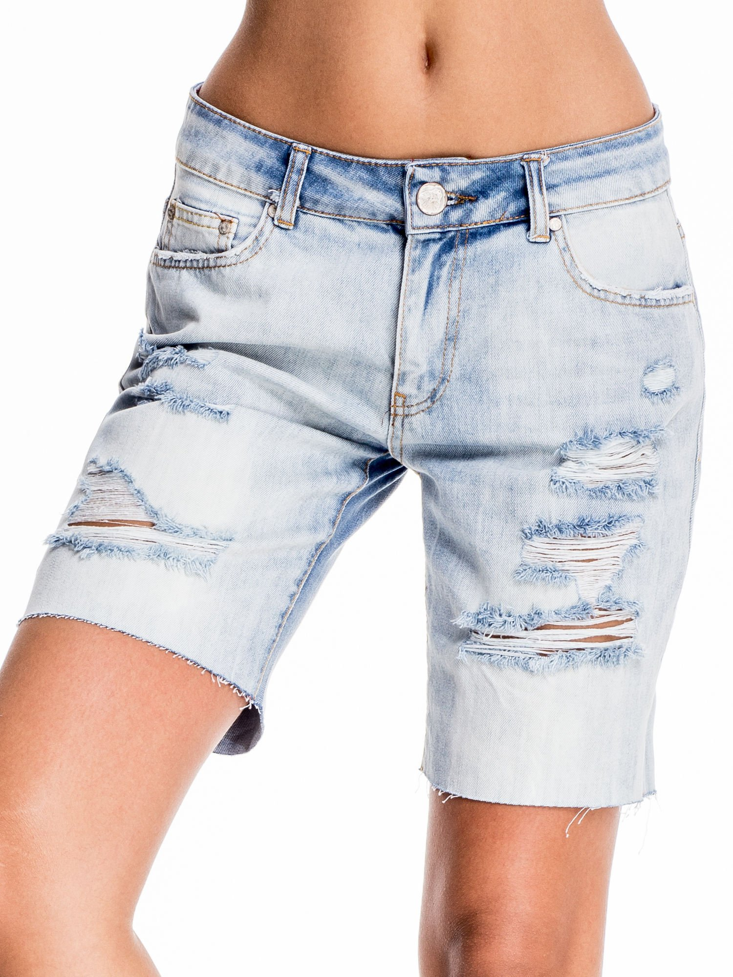 Niebieskie jeansowe szorty a'la bermudy                                  zdj.                                  1