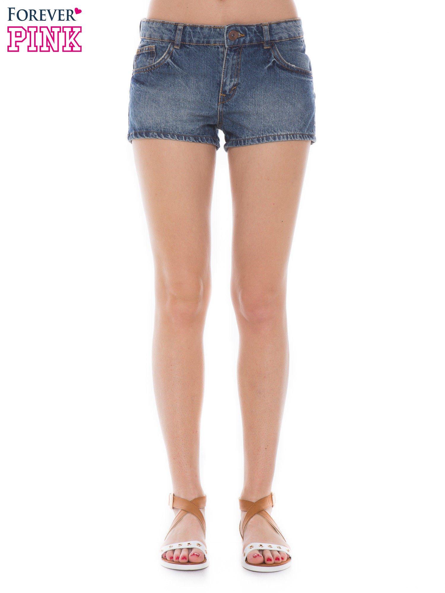 Niebieskie jeansowe szorty z efektem sprania                                  zdj.                                  1