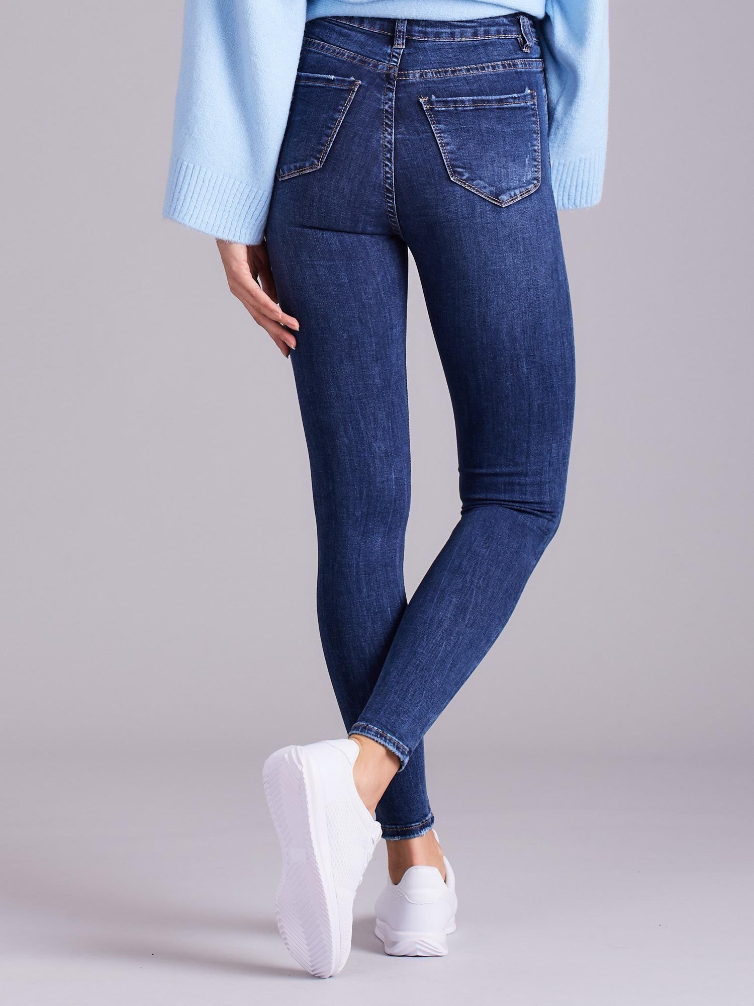 edb426cc63 Niebieskie jeansy damskie z wysokim stanem - Spodnie jeansowe ...