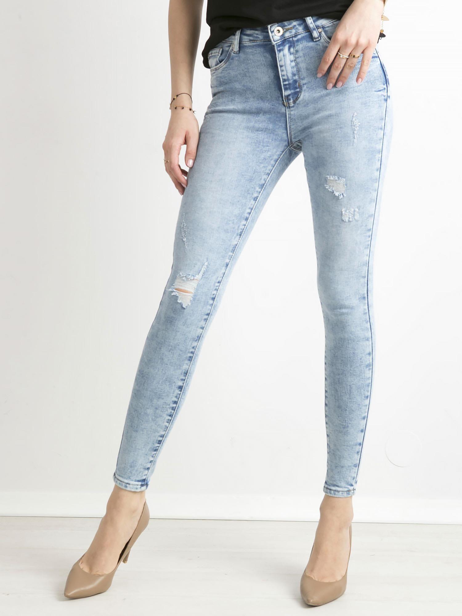 e5e8ddaad5448d Niebieskie jeansy damskie z wysokim stanem - Spodnie jeansowe - sklep  eButik.pl