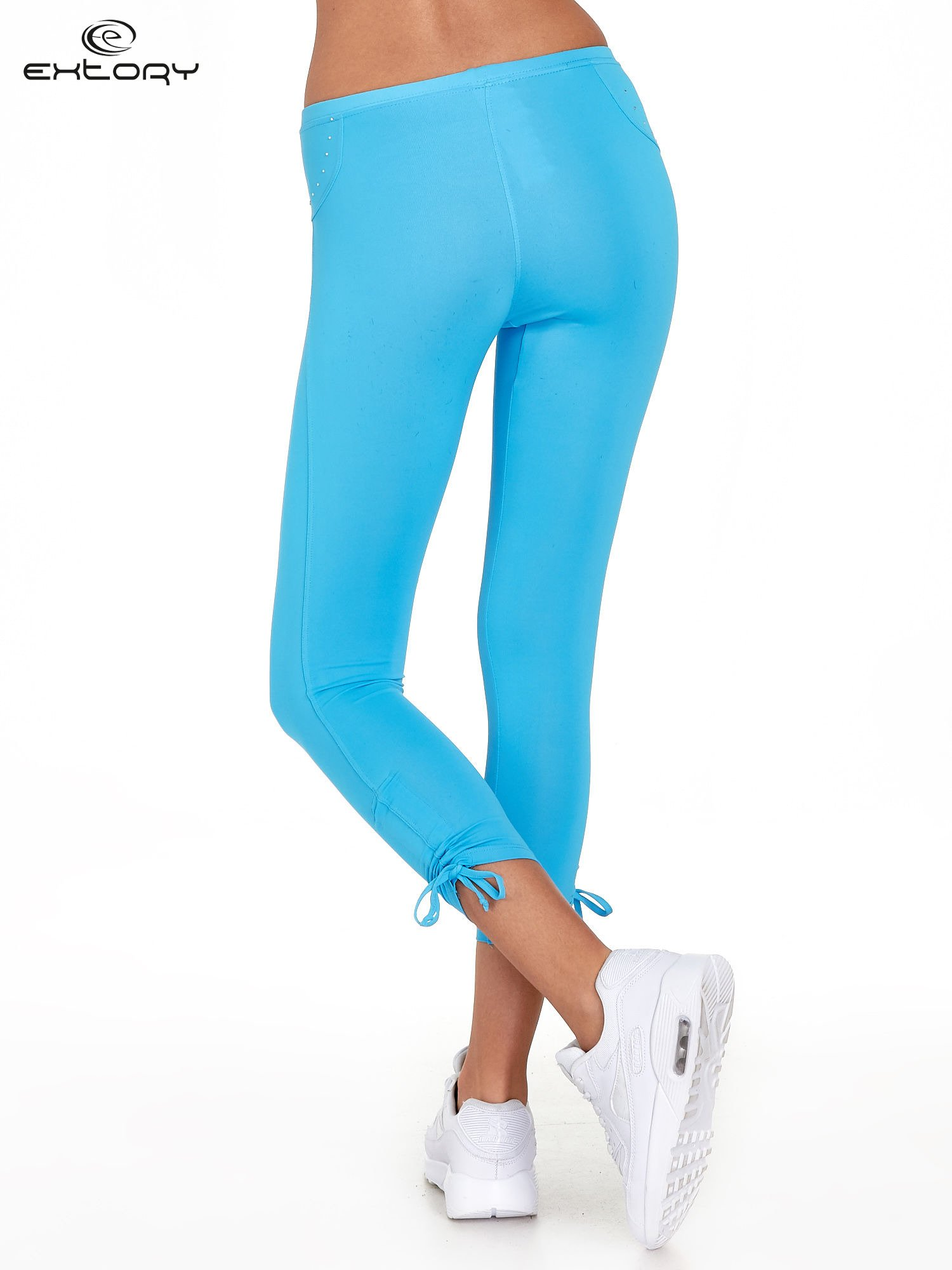 Niebieskie legginsy sportowe termalne z dżetami i ściągaczem                                  zdj.                                  3