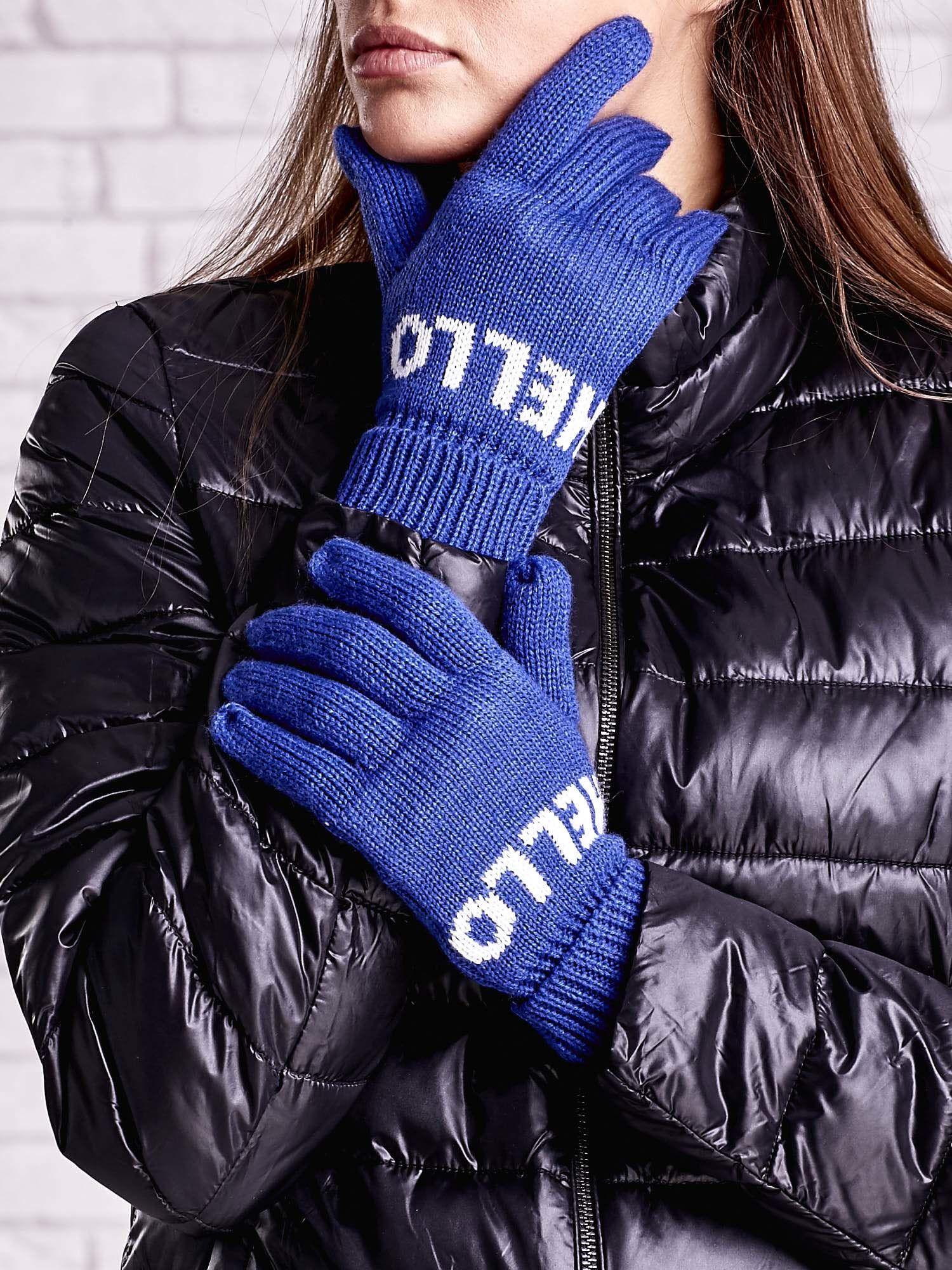 Niebieskie rękawiczki HELLO na pięć palców z wywijanym ściągaczem                                  zdj.                                  1