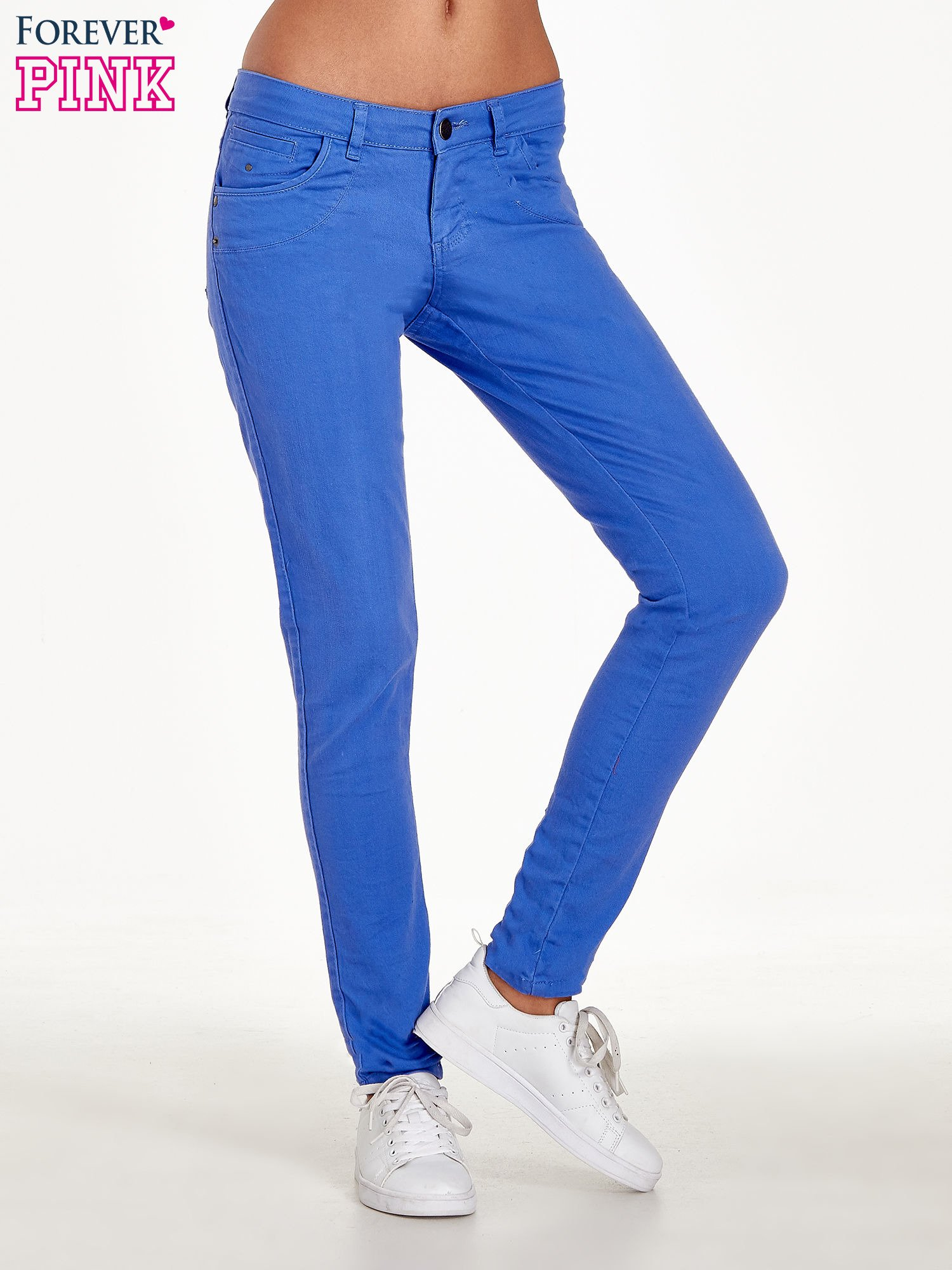 Niebieskie spodnie jeansowe rurki                                  zdj.                                  1
