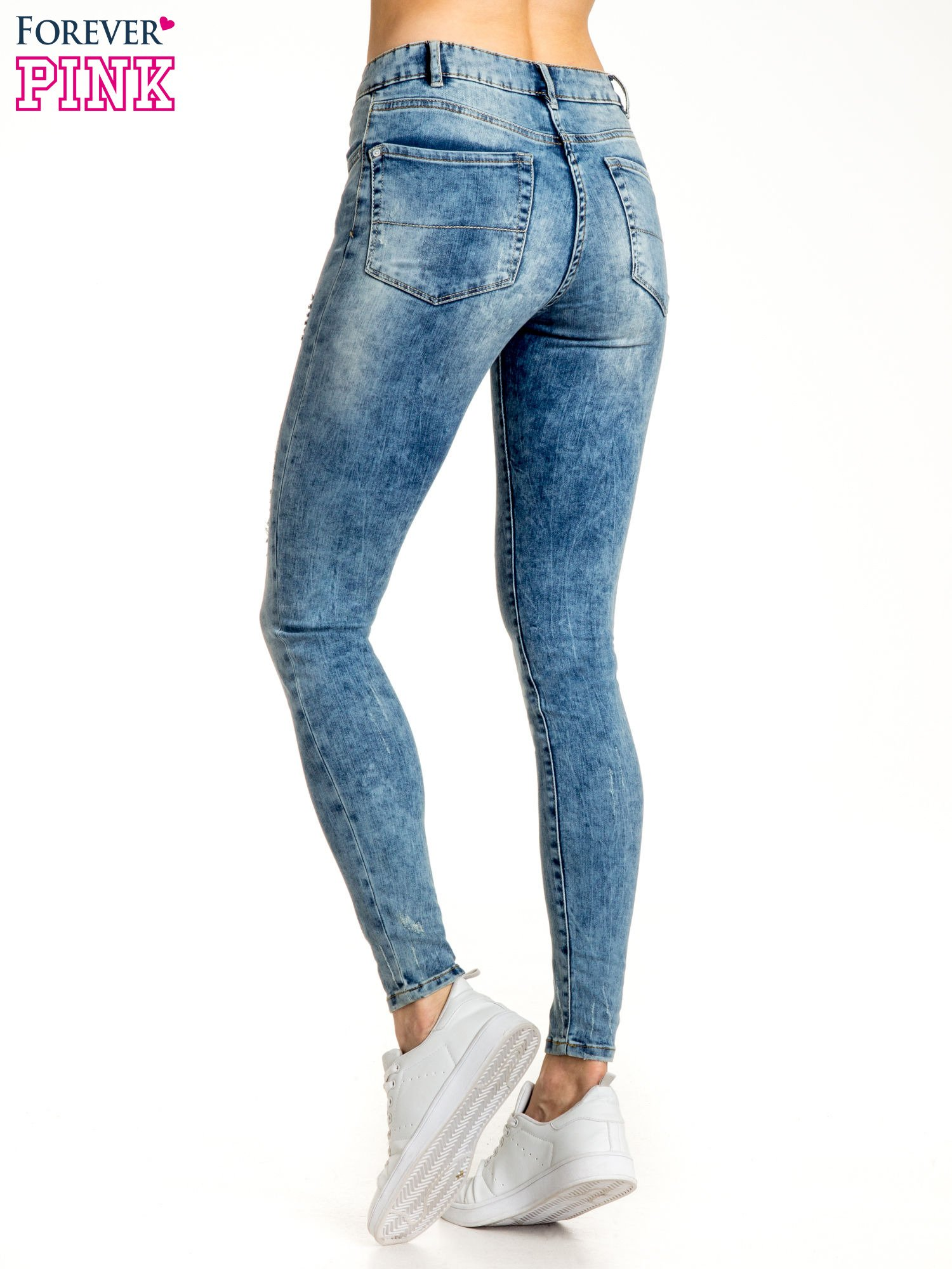 Niebieskie spodnie jeansowe skinny z przetarciami                                  zdj.                                  3